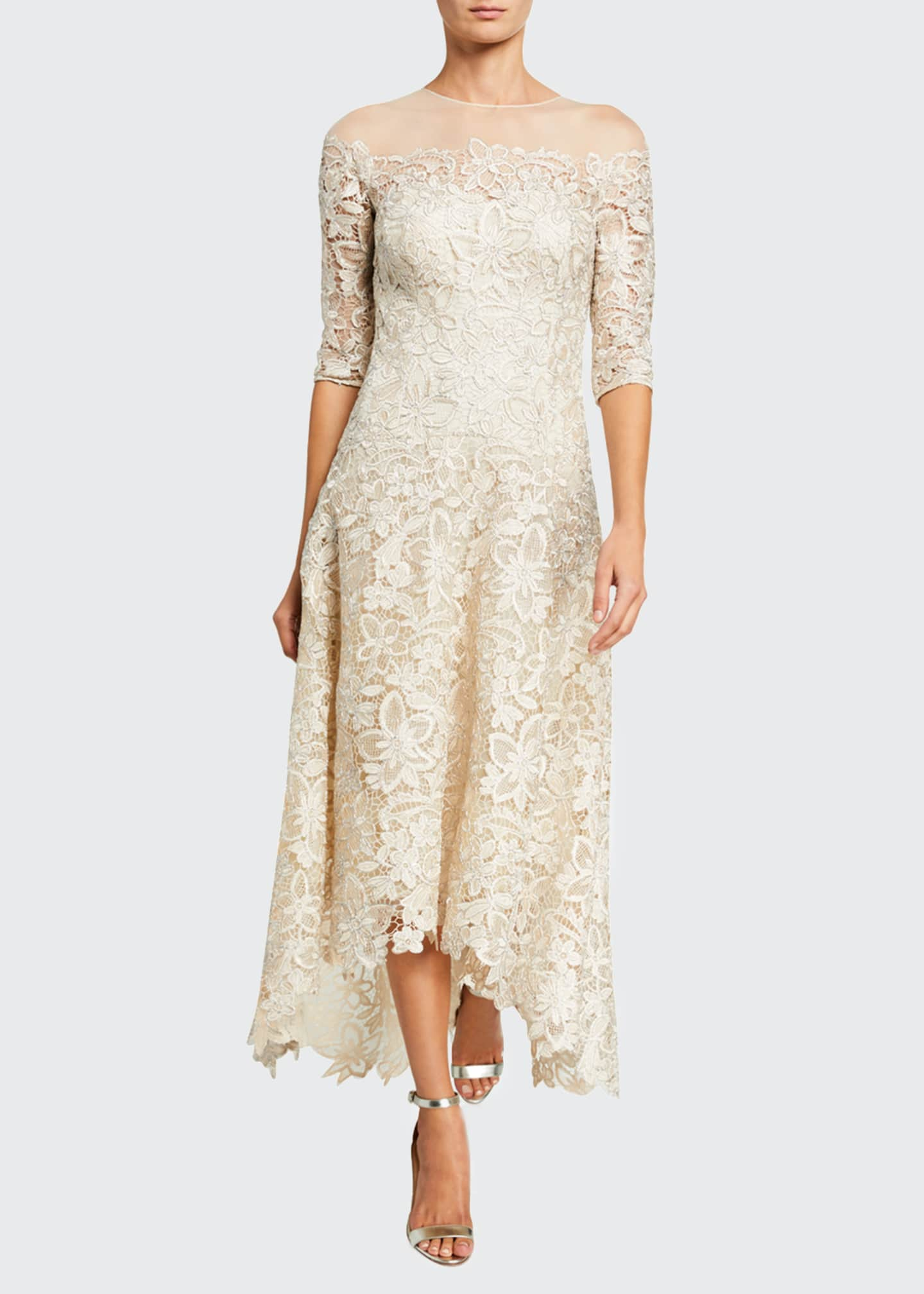 Image 1 of 2: Lace High-Low Mesh-Yoke Gown