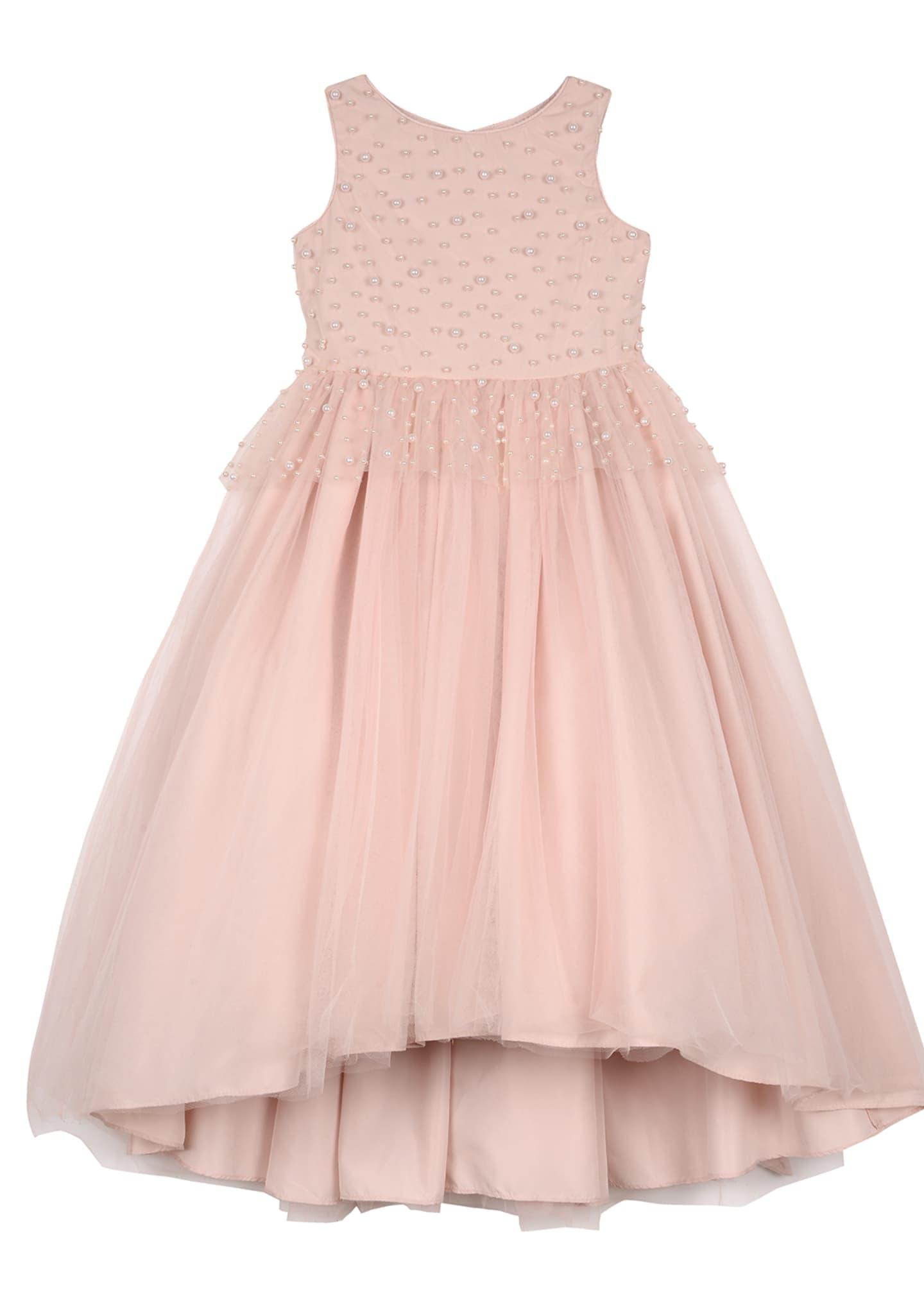 Badgley Mischka Kid's Peplum High-Low Maxi Dress w/