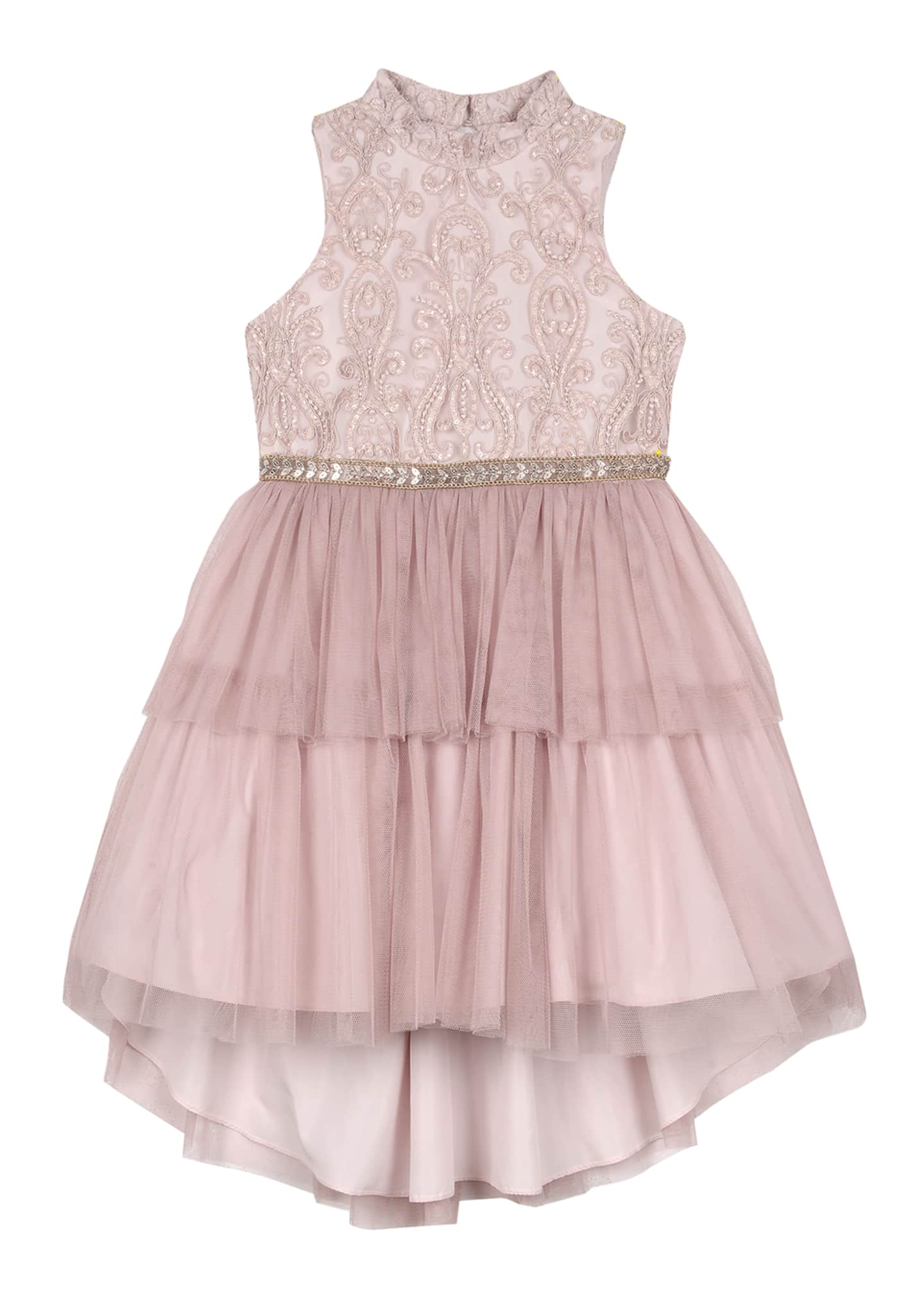 Badgley Mischka Kid's Embroidered Two-Tier Tutu Dress, Size