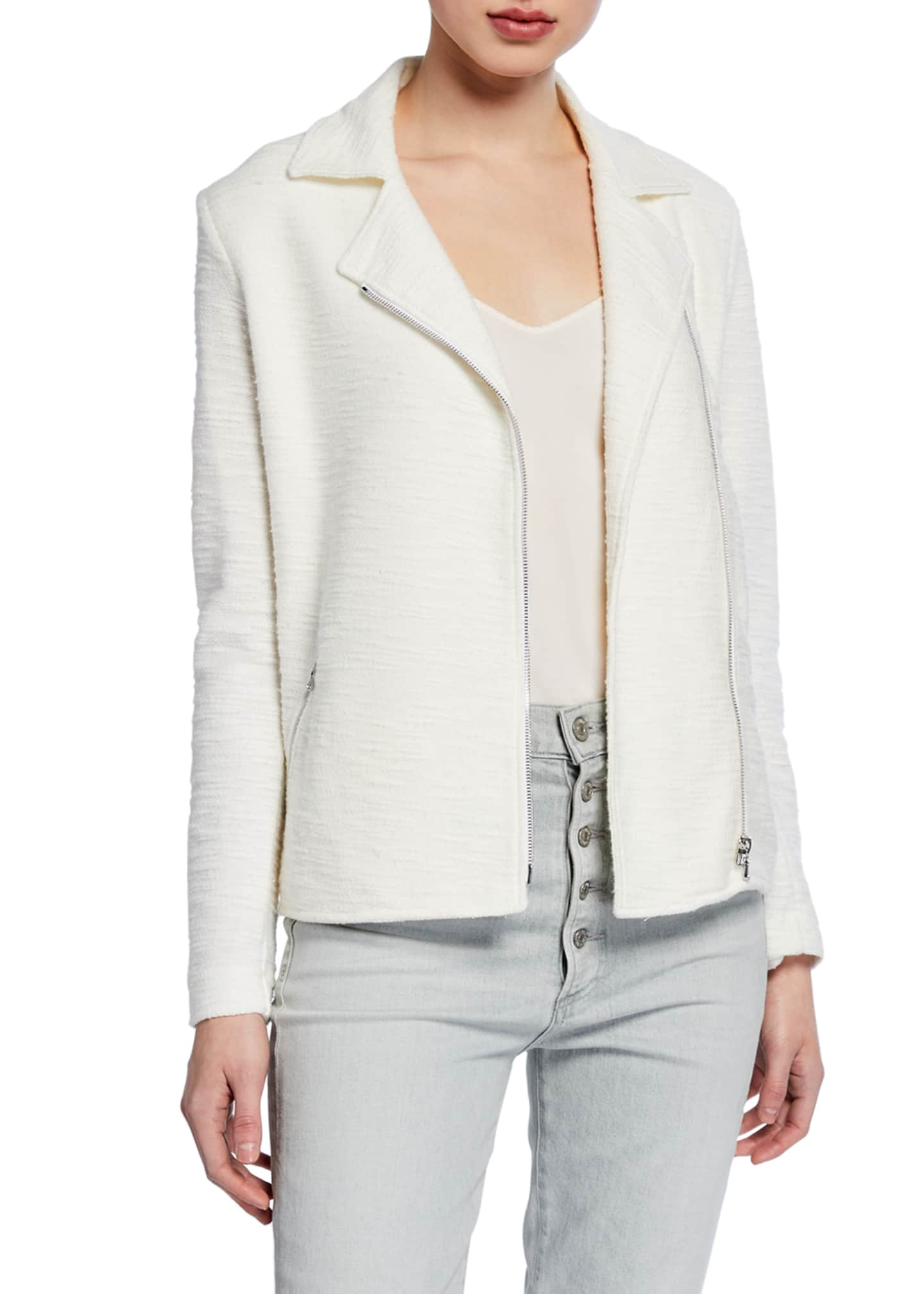 Image 2 of 3: Cotton/Cashmere Textured Long-Sleeve Moto Jacket