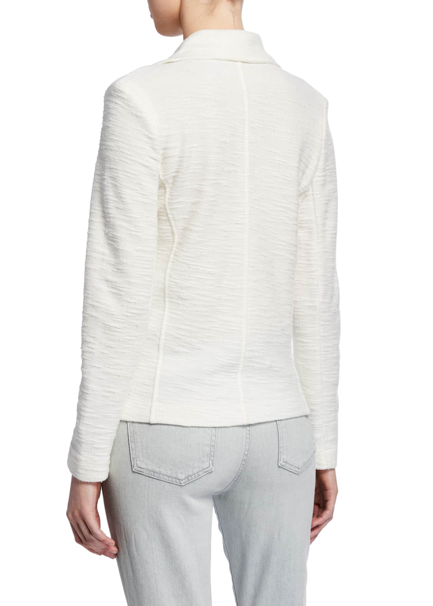 Image 3 of 3: Cotton/Cashmere Textured Long-Sleeve Moto Jacket