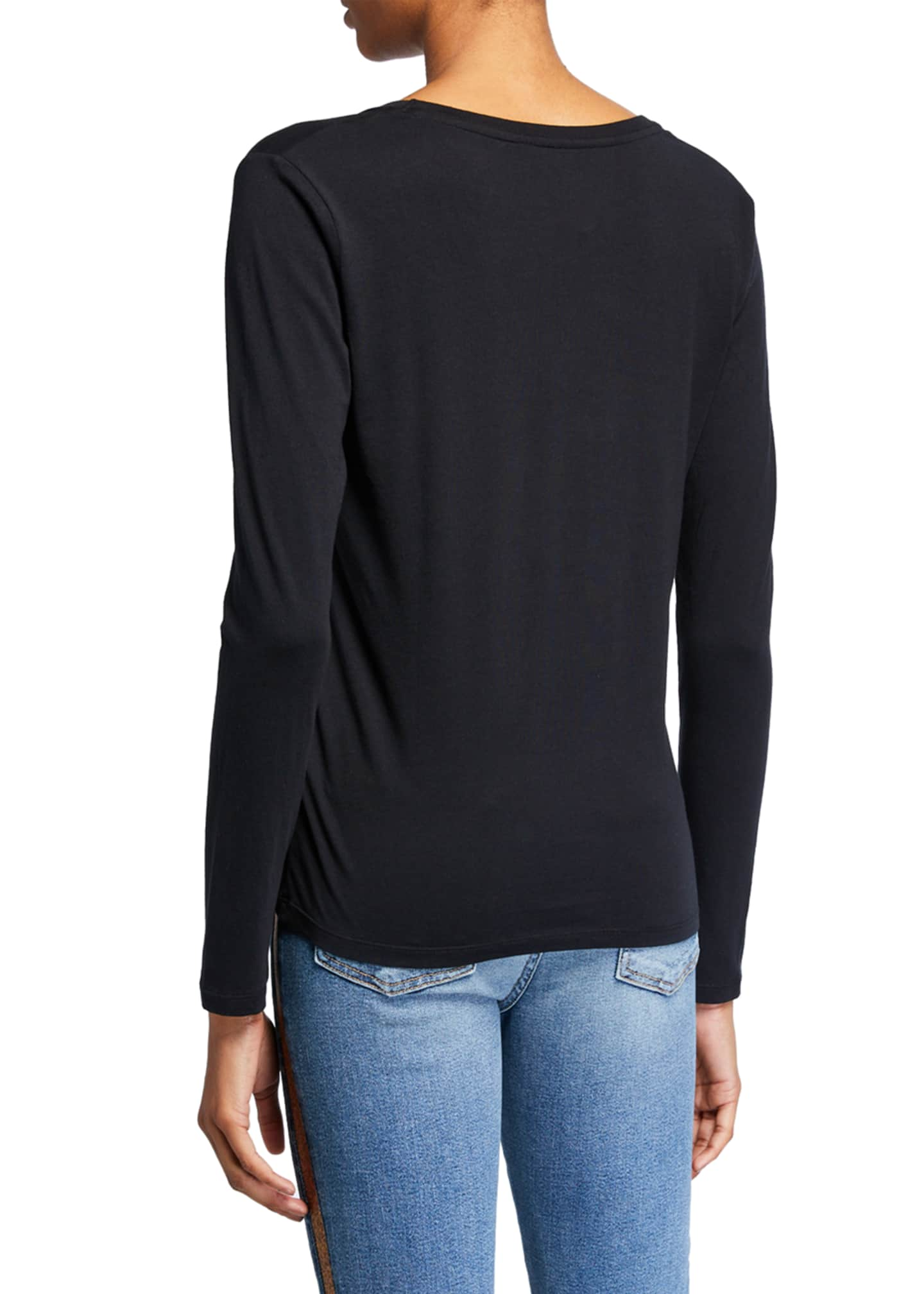 Image 2 of 2: V-Neck Long-Sleeve Silk Touch Cotton Top