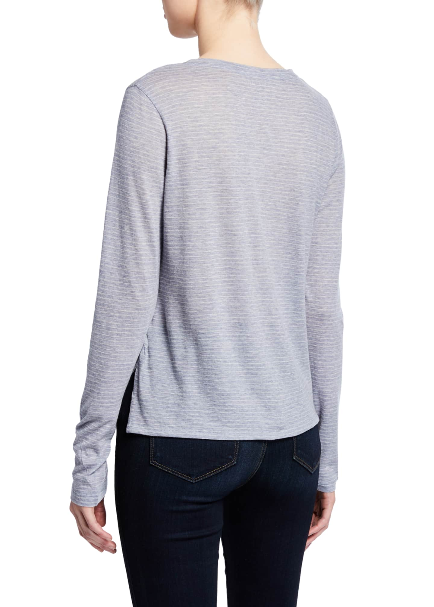 Image 2 of 2: Striped Long-Sleeve Crewneck Cotton/Cashmere Top