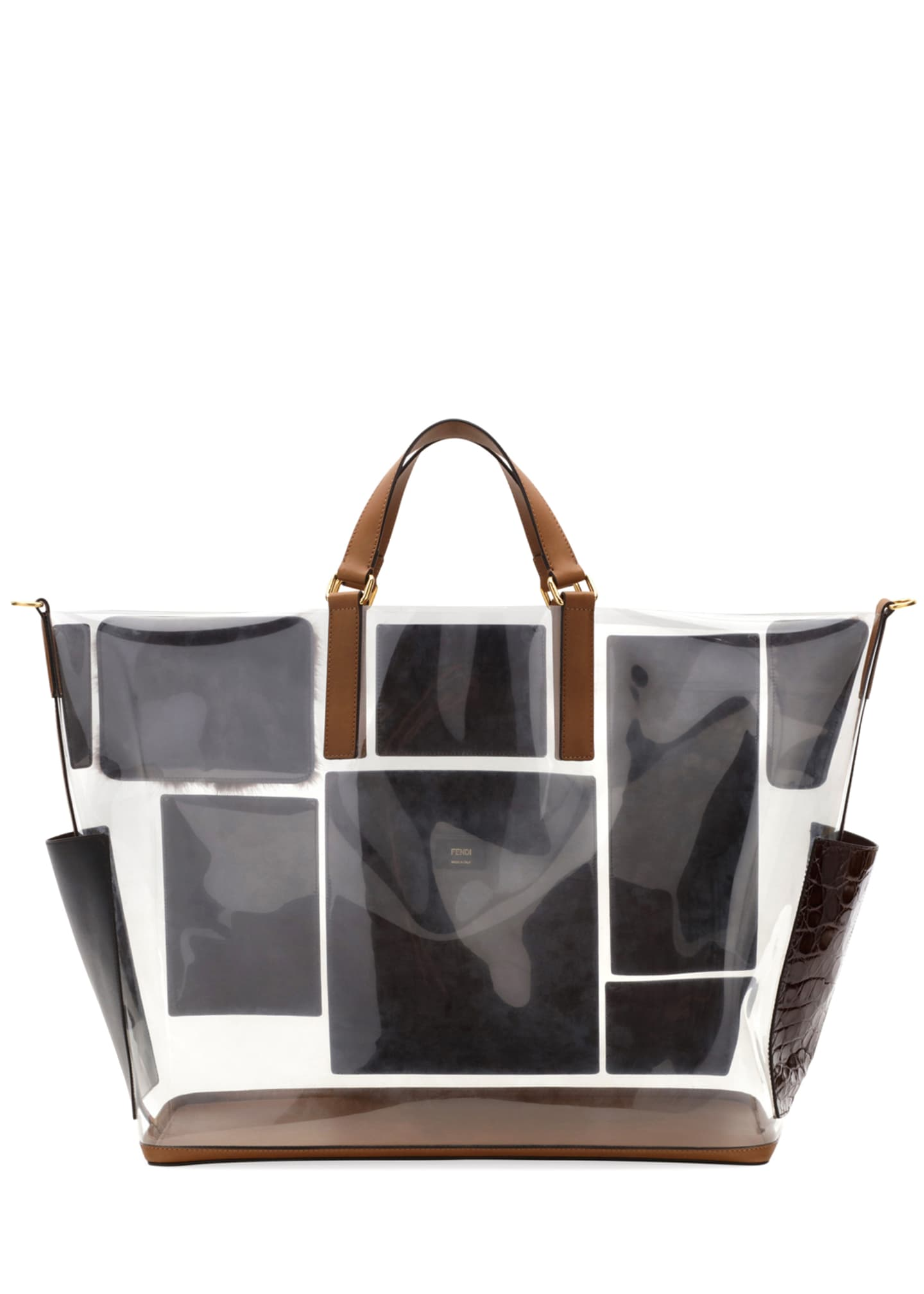 Image 3 of 3: Men's Transparent Mixed Leather & Fur Tote Bag