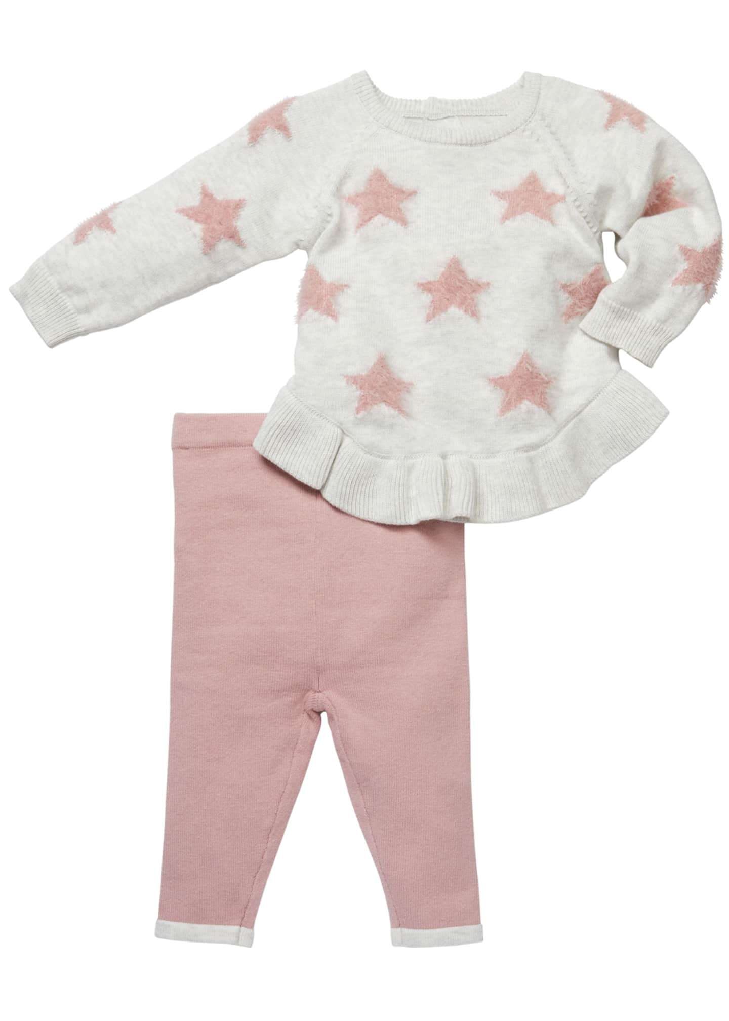 Miniclasix Star-Intarsia Sweater & Leggings Set, Size 3-9