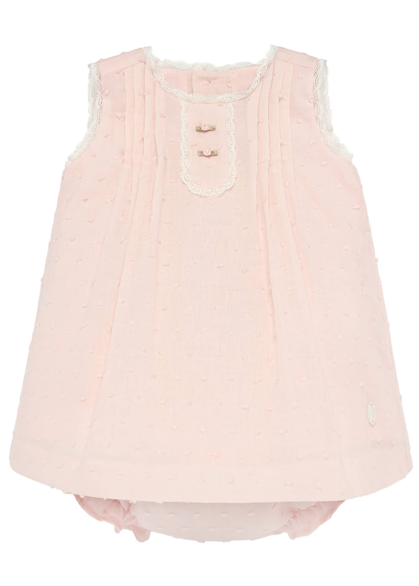 Pili Carrera Swiss Dot Lace-Trim Dress w/ Bloomers,