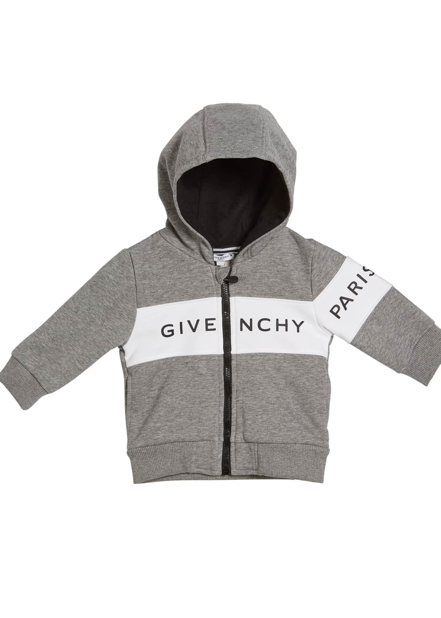 Givenchy Boy's Colorblock Hooded Zip-Up Logo Jacket, Size