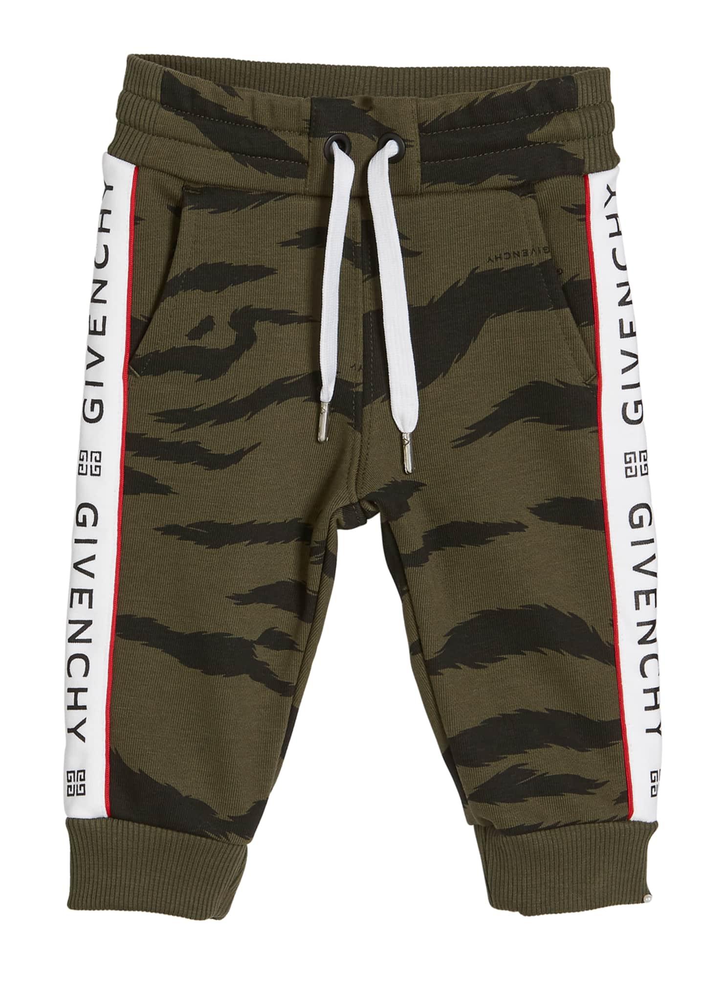 Givenchy Boy's Camo Sweatpants w/ Logo Taping, Size