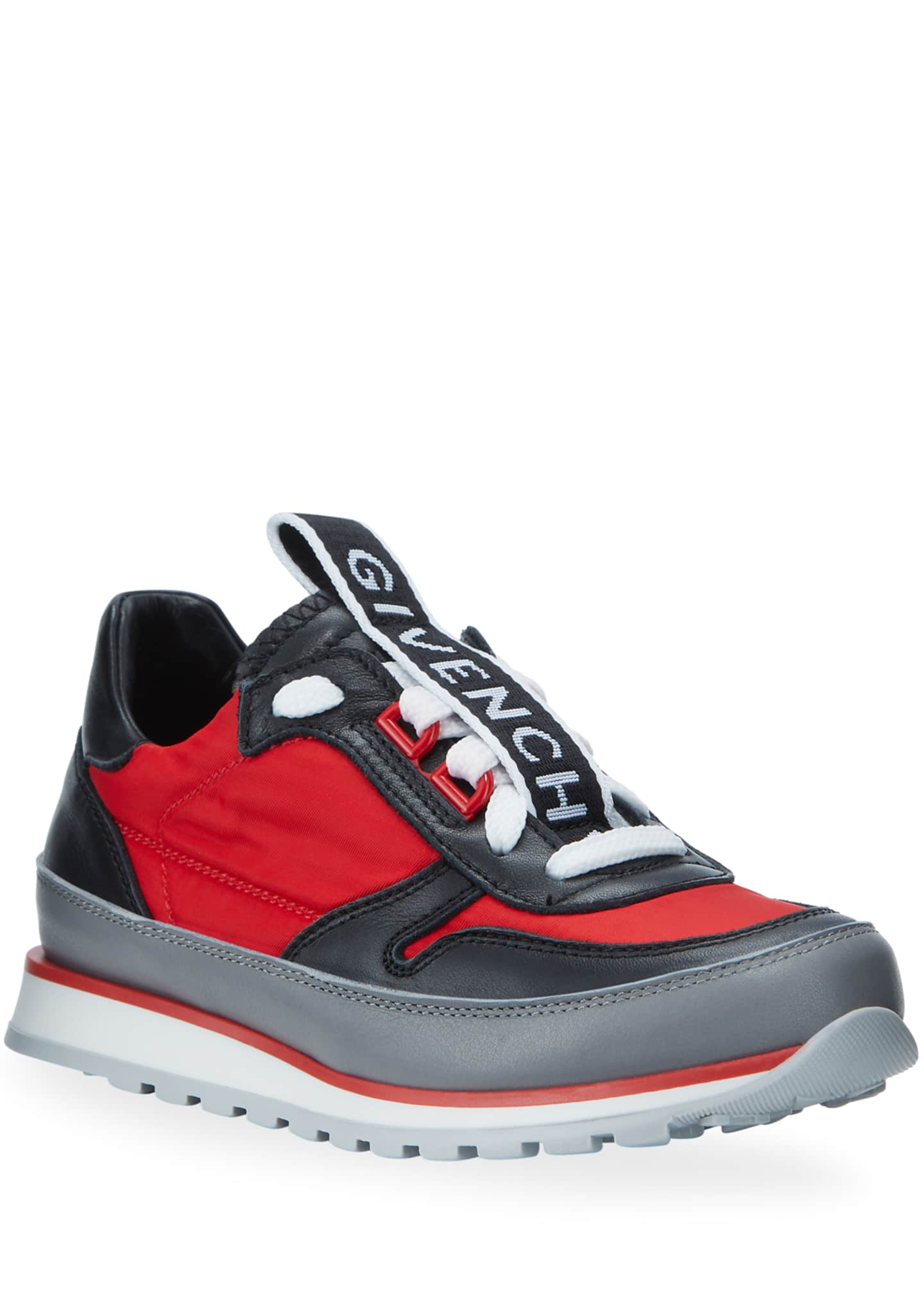Givenchy Boy's Colorblock Mixed Materials Logo Sneakers,