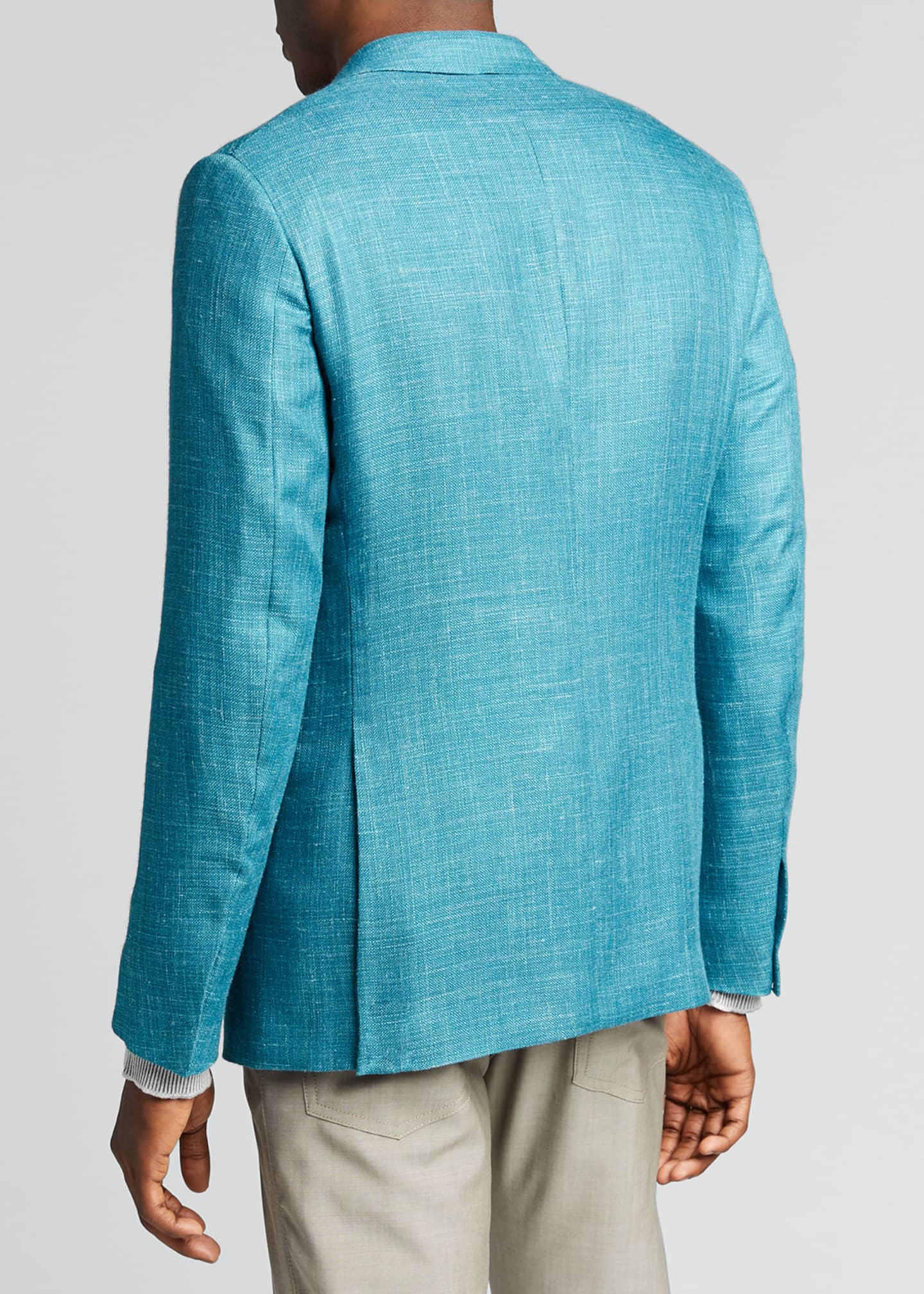 Image 2 of 5: Men's Textured Solid Two-Button Regular-Fit Jacket