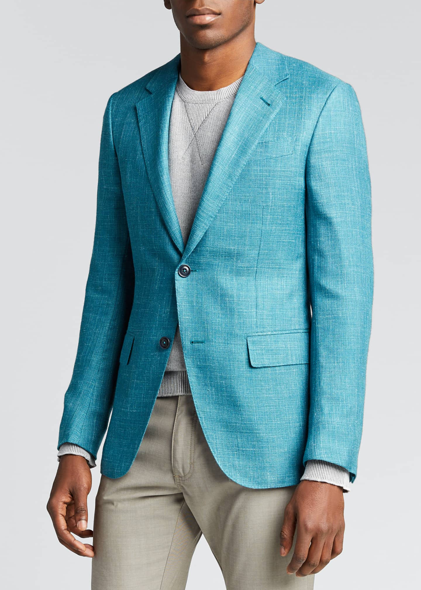 Image 3 of 5: Men's Textured Solid Two-Button Regular-Fit Jacket