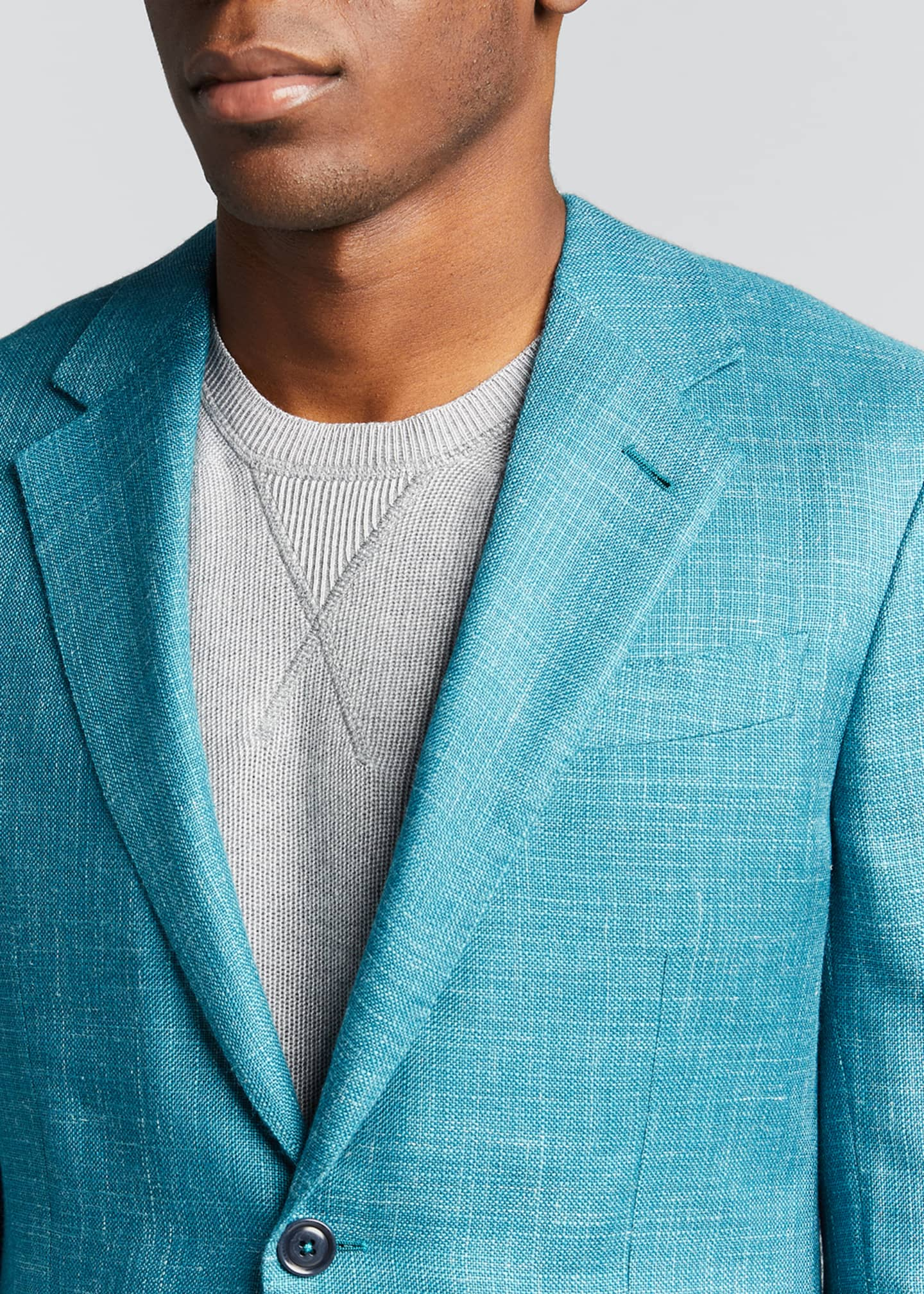Image 4 of 5: Men's Textured Solid Two-Button Regular-Fit Jacket