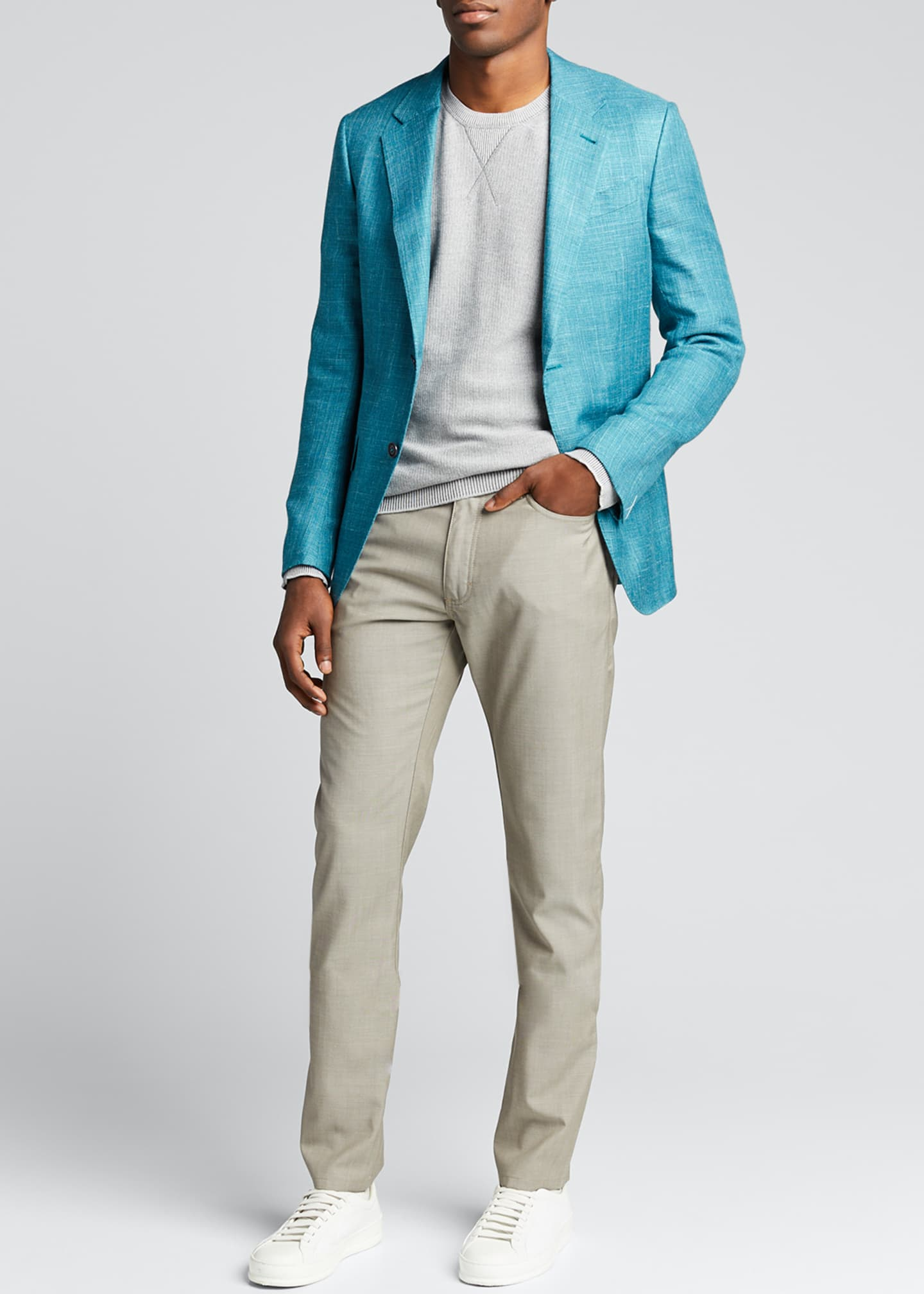 Image 1 of 5: Men's Textured Solid Two-Button Regular-Fit Jacket