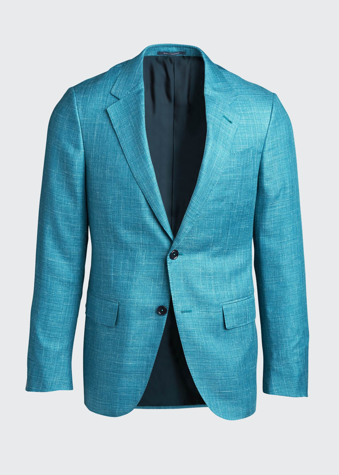 Image 5 of 5: Men's Textured Solid Two-Button Regular-Fit Jacket
