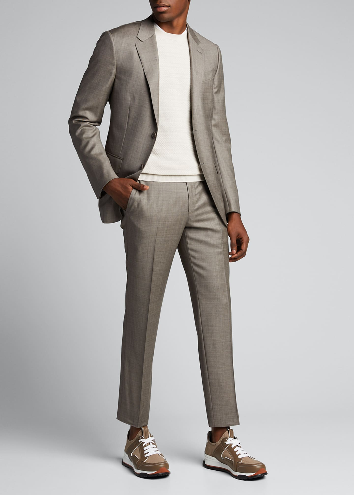 Ermenegildo Zegna Men's Sharkskin Wool Two-Piece Suit