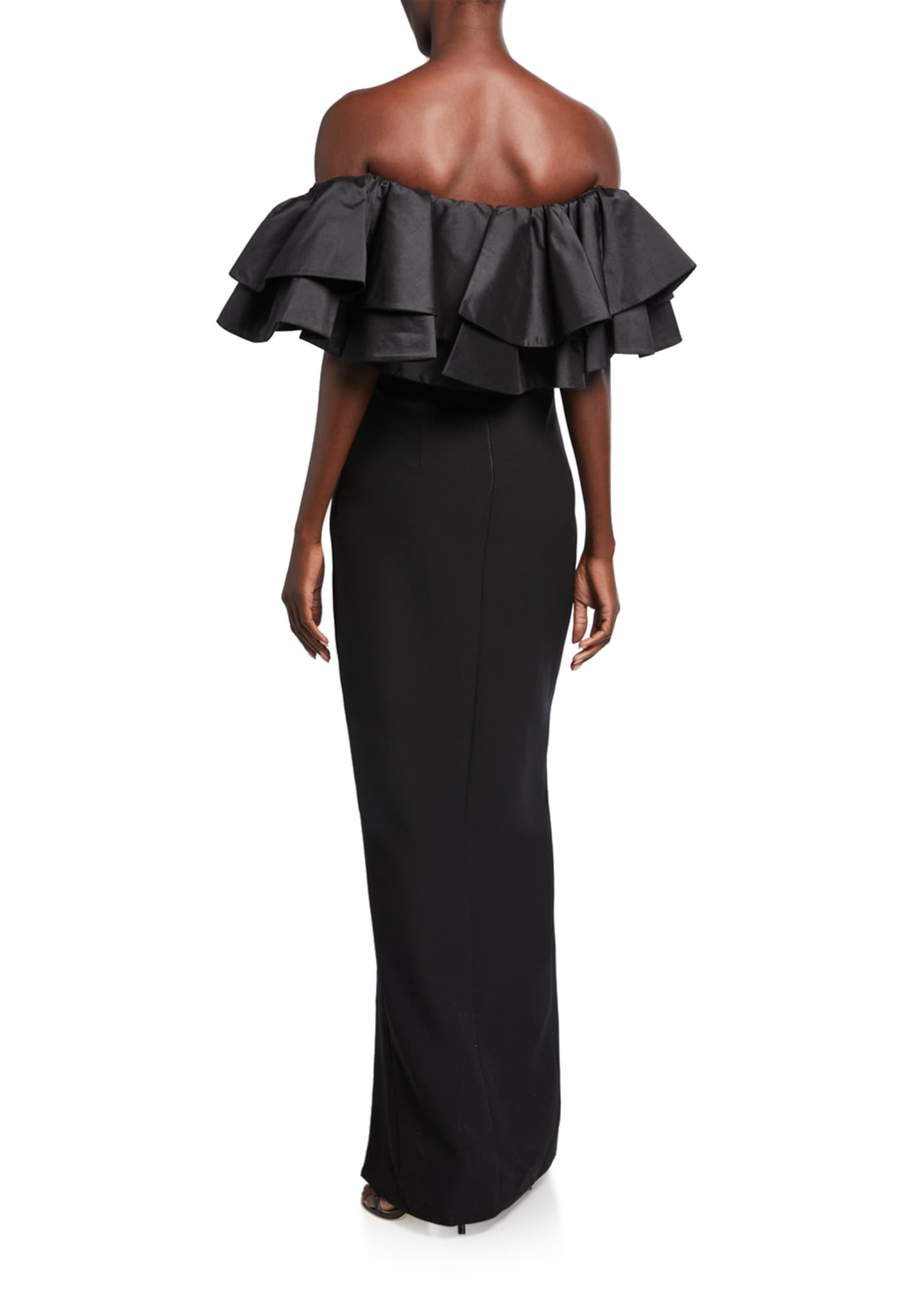 Image 2 of 2: Ruffled Off-the-Shoulder Column Dress