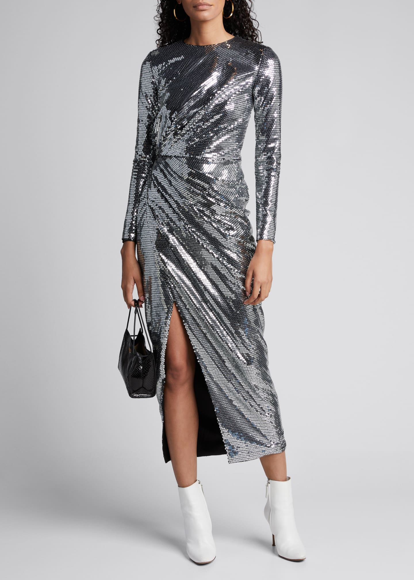 Rasario Sequin Long-Sleeve Crewneck Dress
