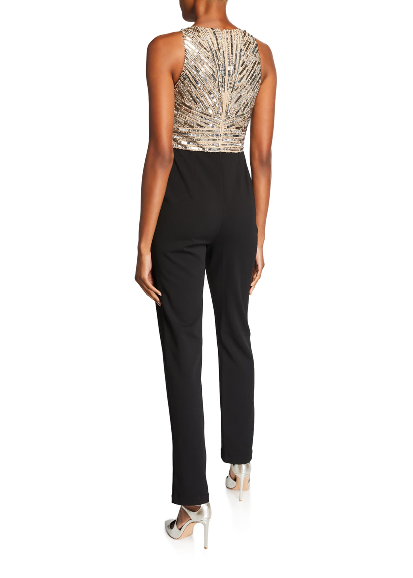 Image 2 of 2: Beaded Bodice Sleeveless Jumpsuit with Crepe Pants
