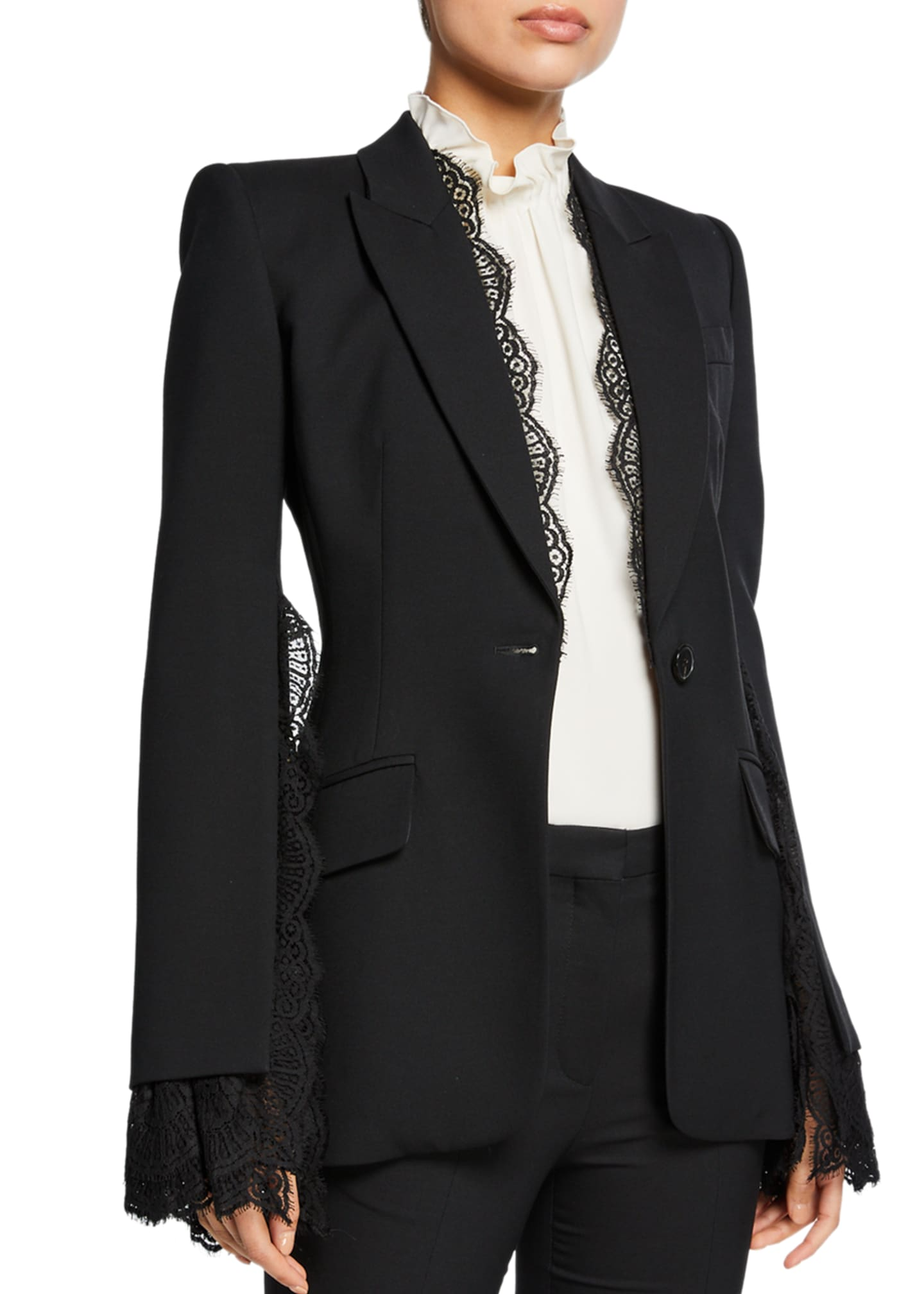 Image 3 of 3: Lace-Trim Leaf Crepe Blazer