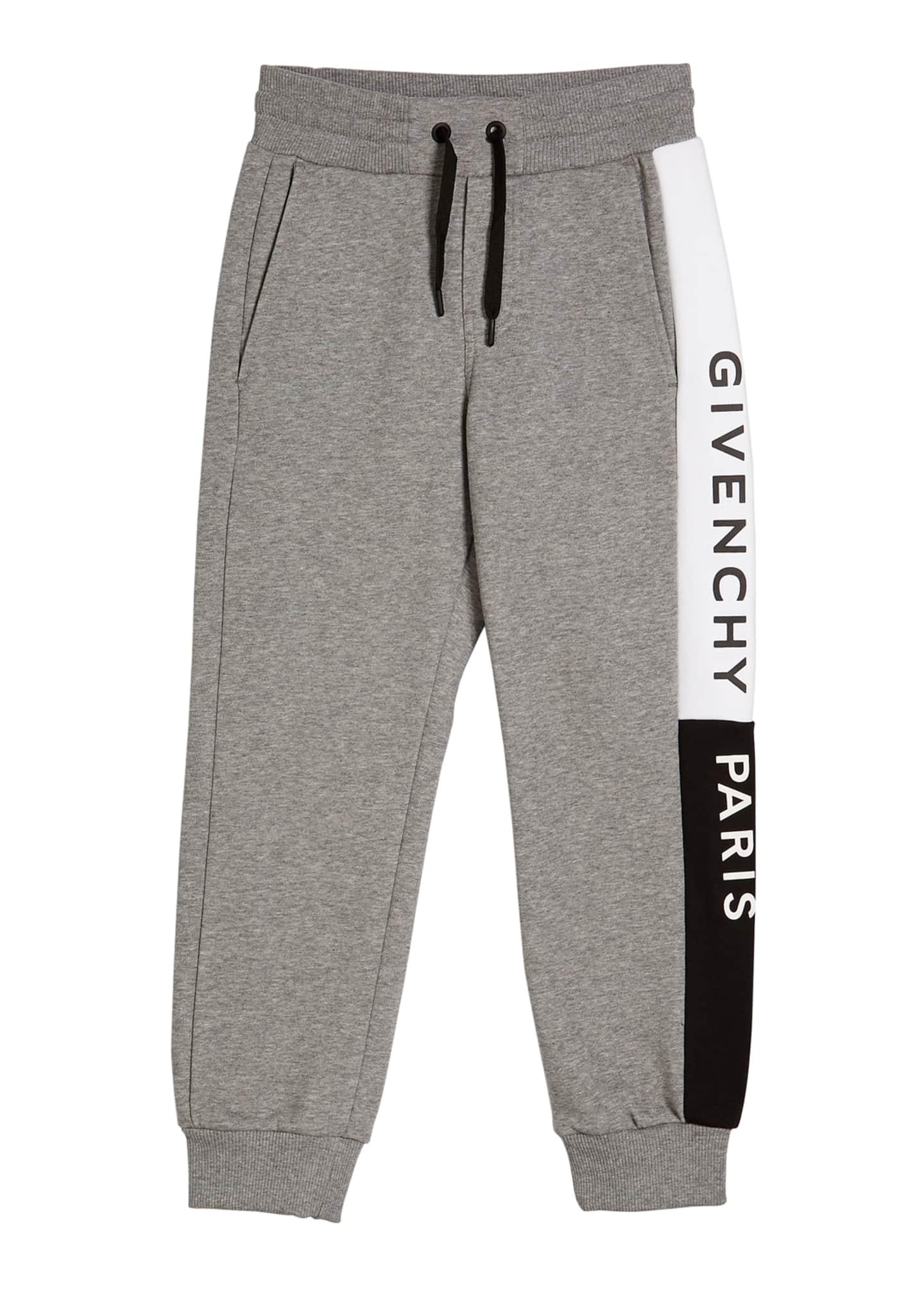 Givenchy Boy's Heathered Logo Trim Joggers, Size 4-10