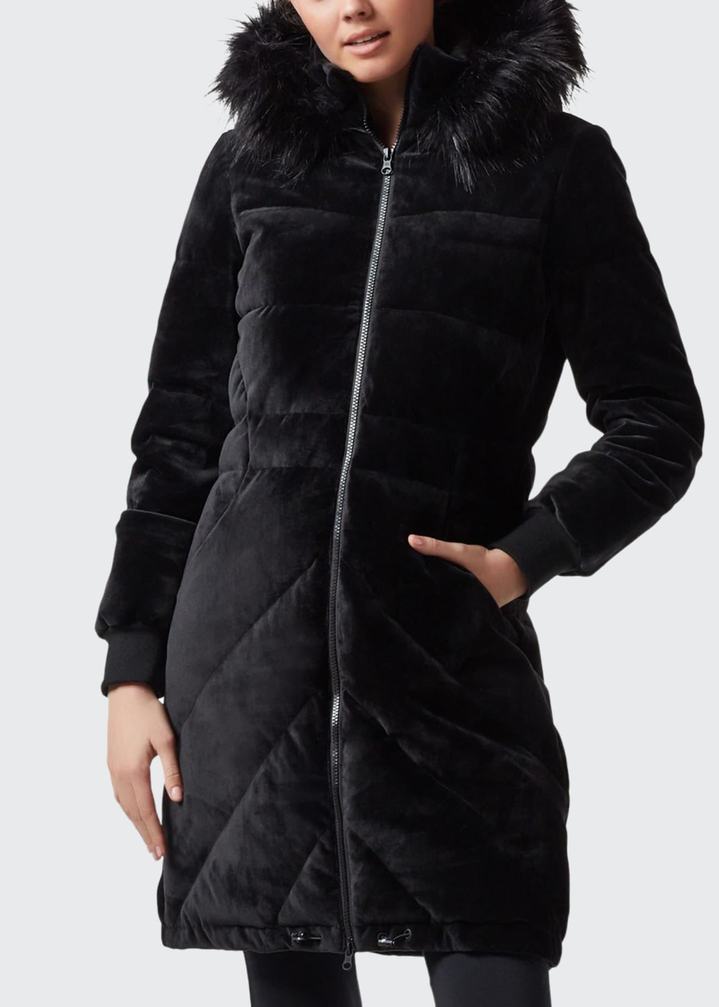 Blanc Noir Alexandra Velvet Puffer Jacket w/ Faux