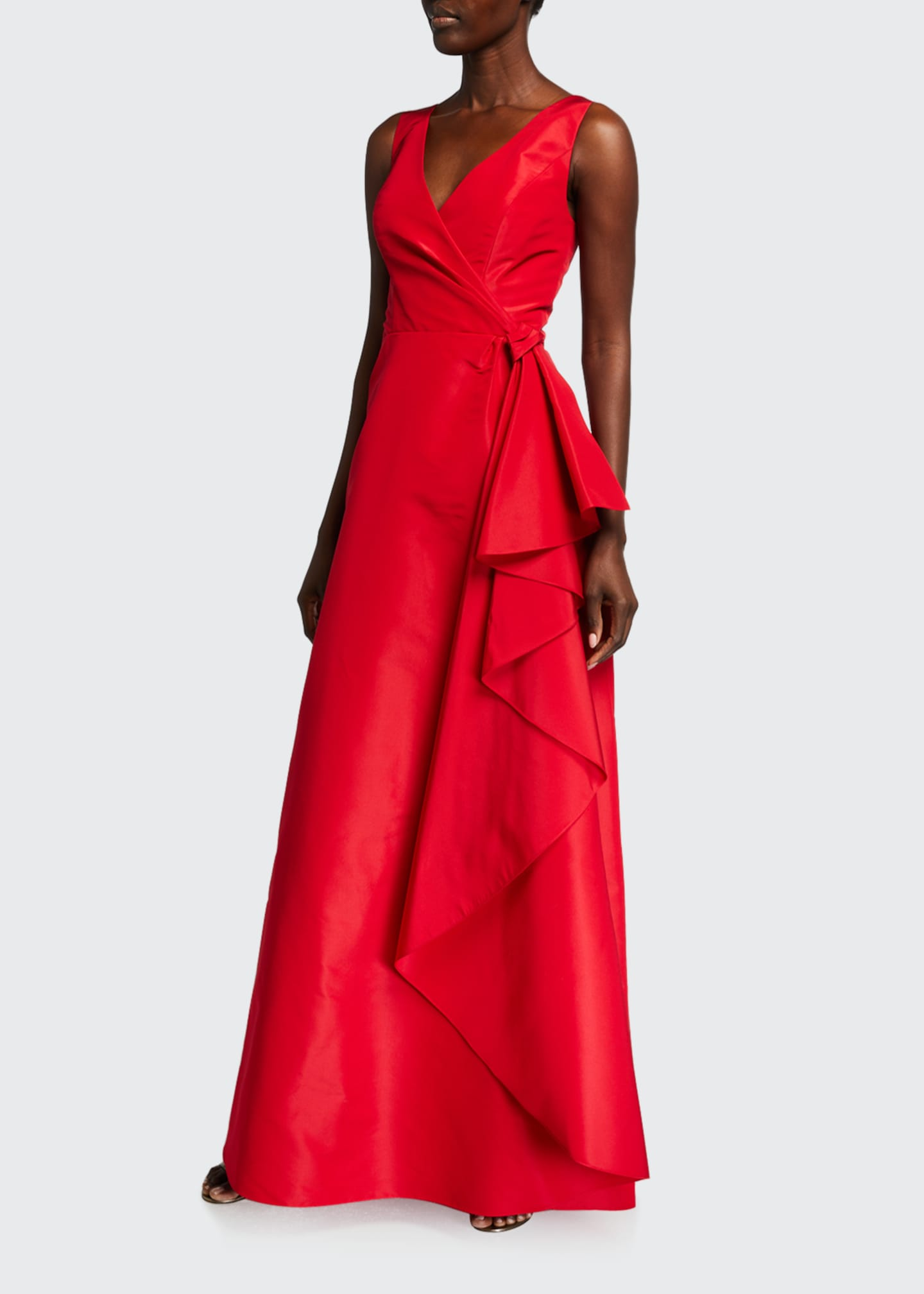 Image 1 of 3: Icon Silk Cascading V-Neck Gown