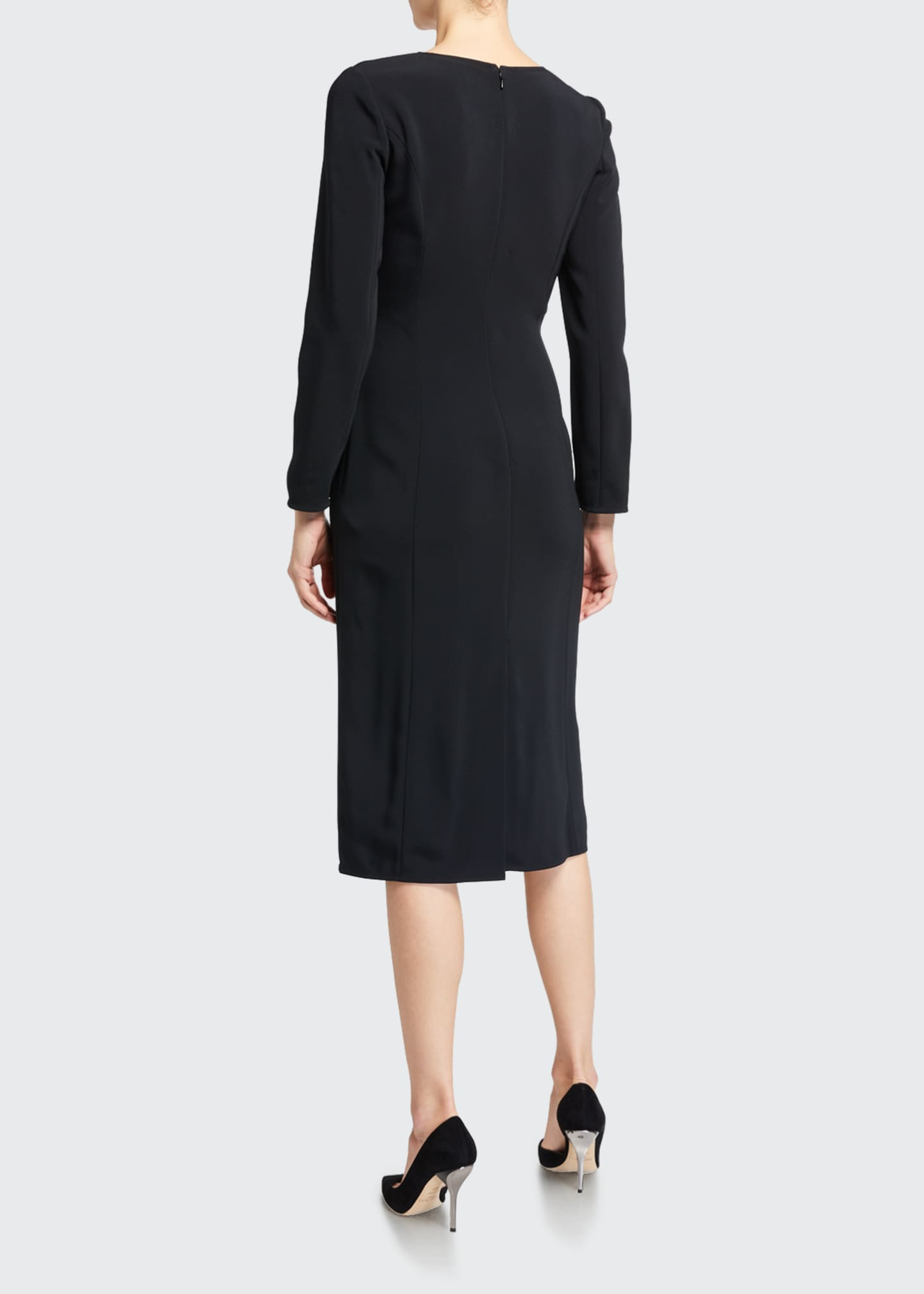 Image 2 of 3: Long-Sleeve V-Neck Sheath Dress