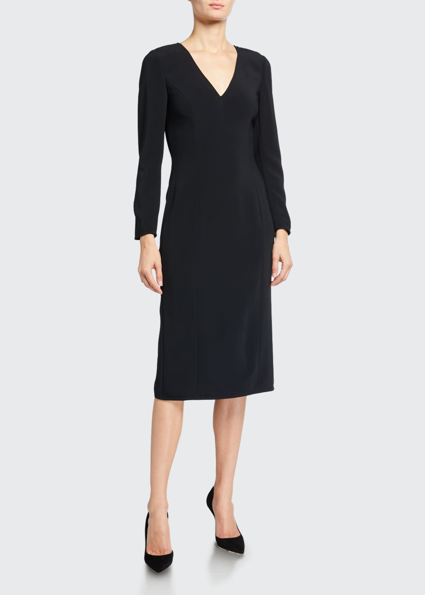 Image 1 of 3: Long-Sleeve V-Neck Sheath Dress