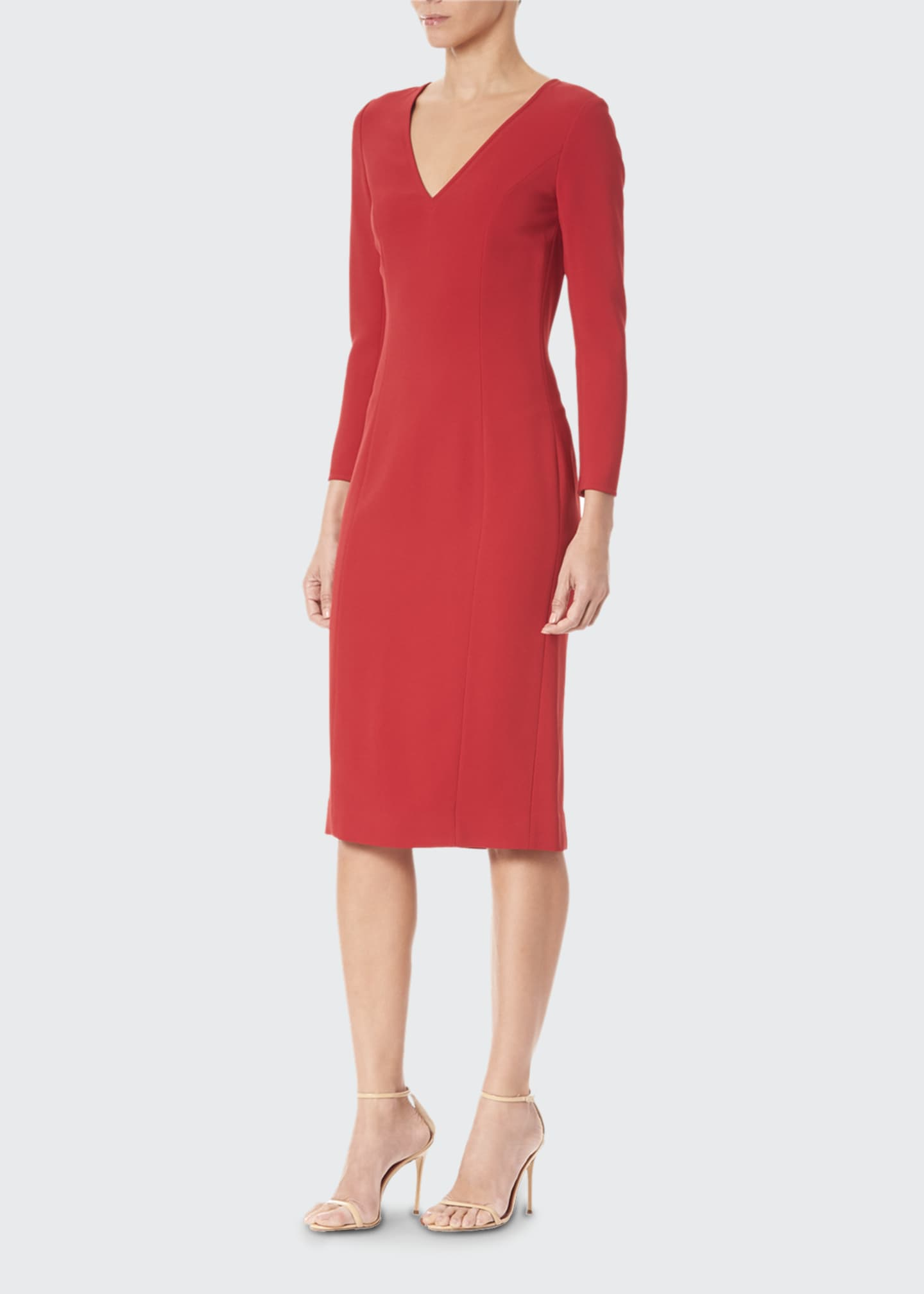 Image 3 of 3: Long-Sleeve V-Neck Sheath Dress