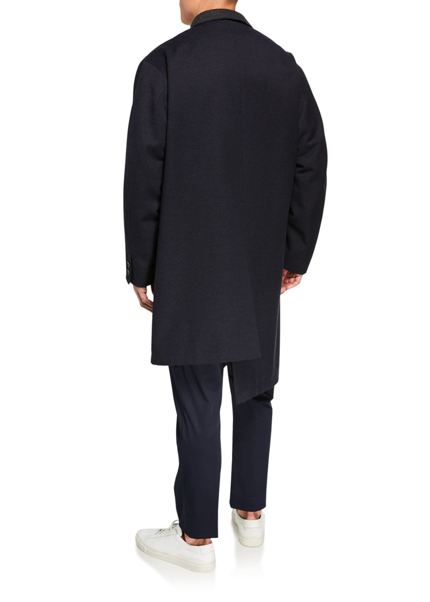 Image 2 of 3: Men's Wool Overcoat w/ Contrast Stitch Trim
