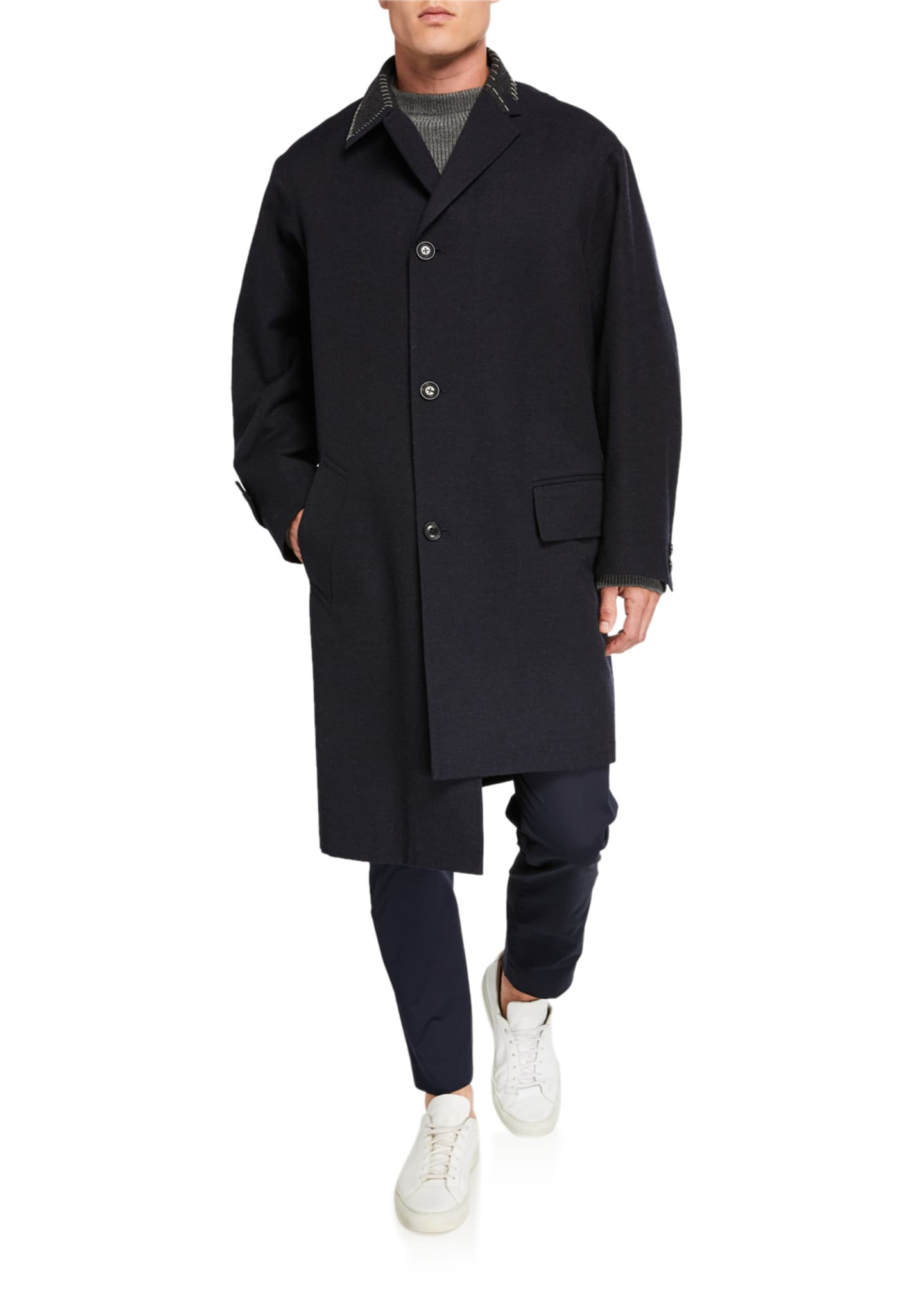 Image 3 of 3: Men's Wool Overcoat w/ Contrast Stitch Trim