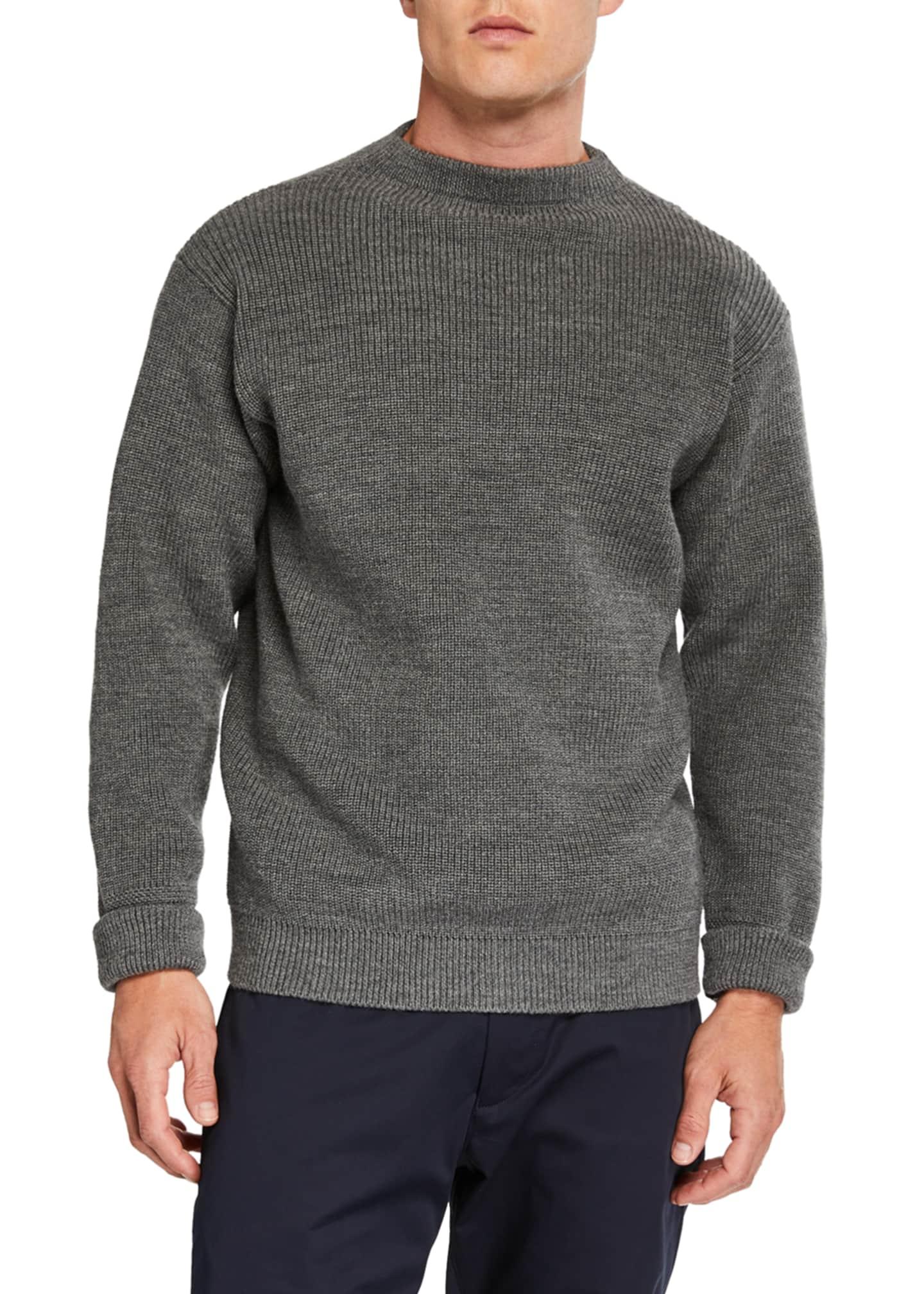 ANDERSEN-ANDERSEN Men's Sailor Solid Crewneck Sweater with
