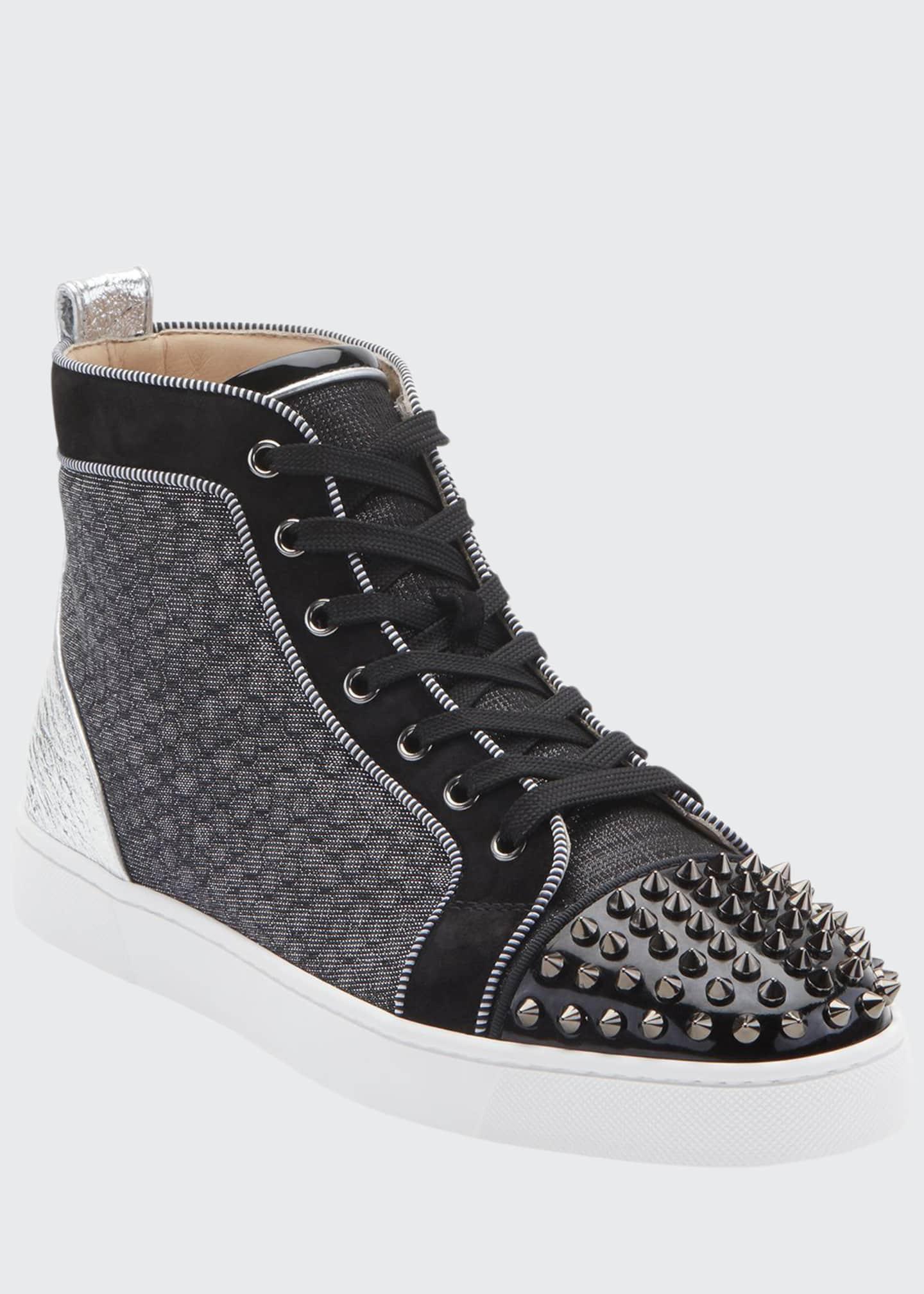 Christian Louboutin Men's Lou Spikes Orlato Mixed-Media Sneakers
