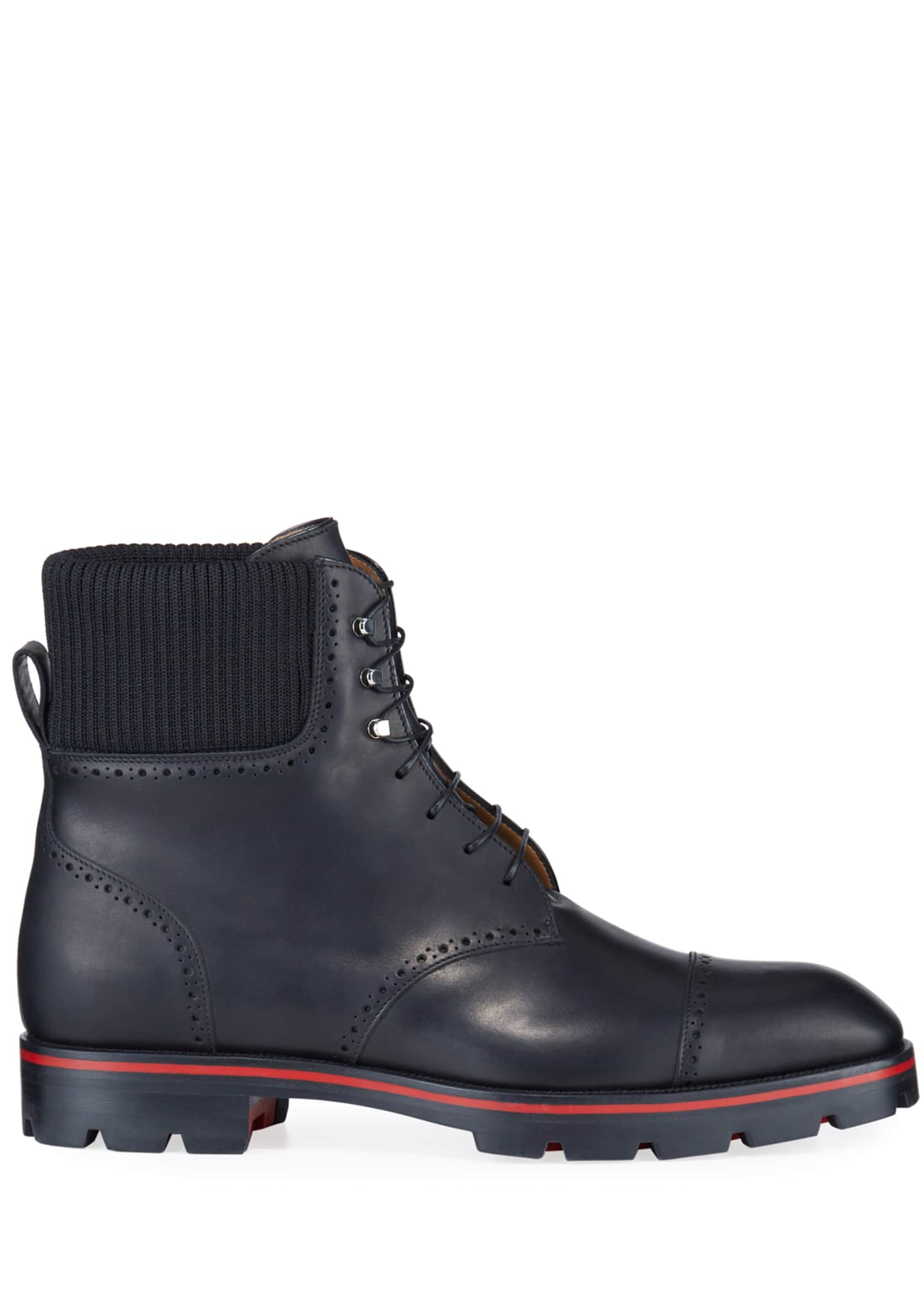 Image 3 of 4: Men's Citycroc Red Sole Brogue Leather Boots