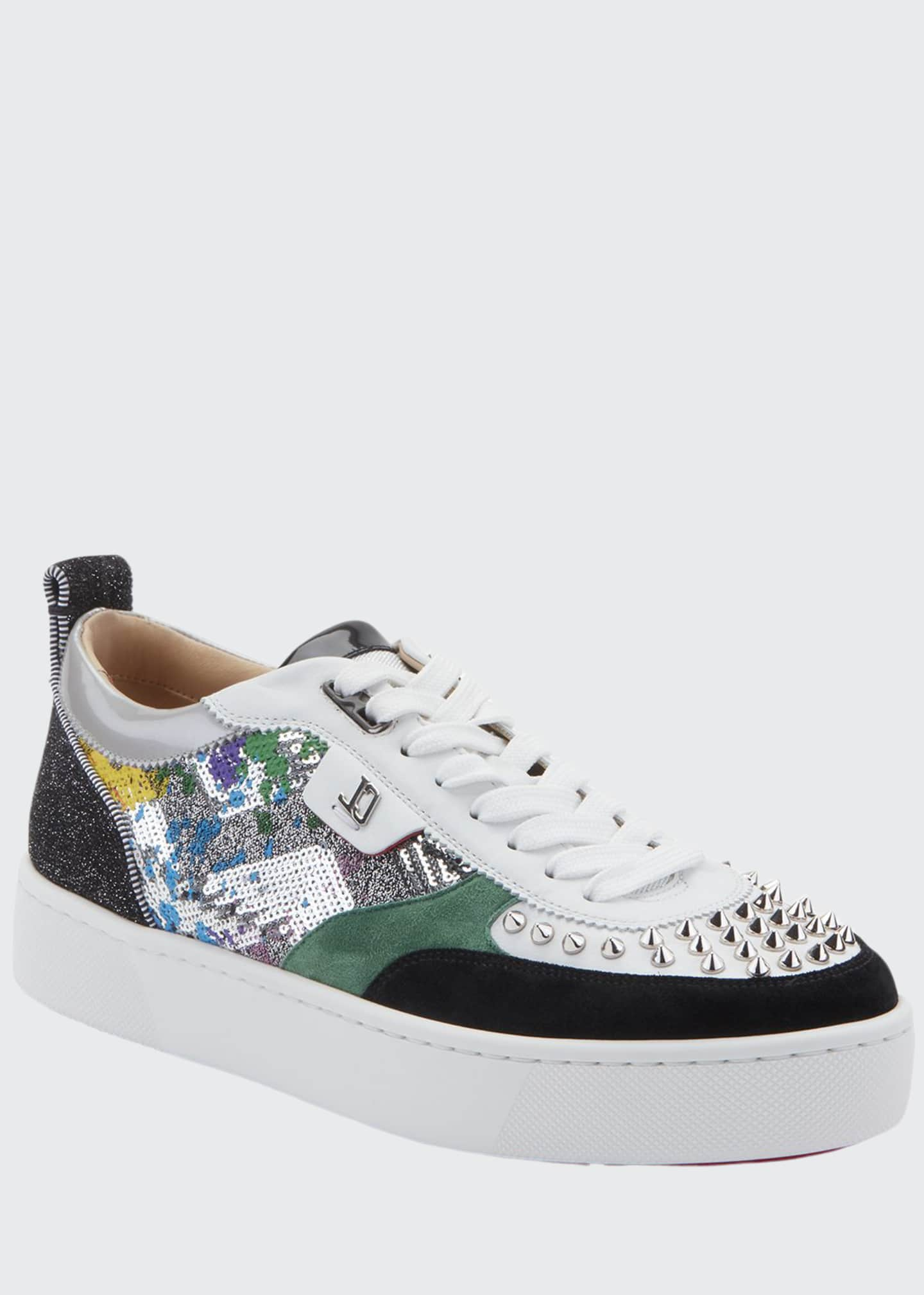 Christian Louboutin Men's Happy Rui Mixed-Media Platform Sneakers