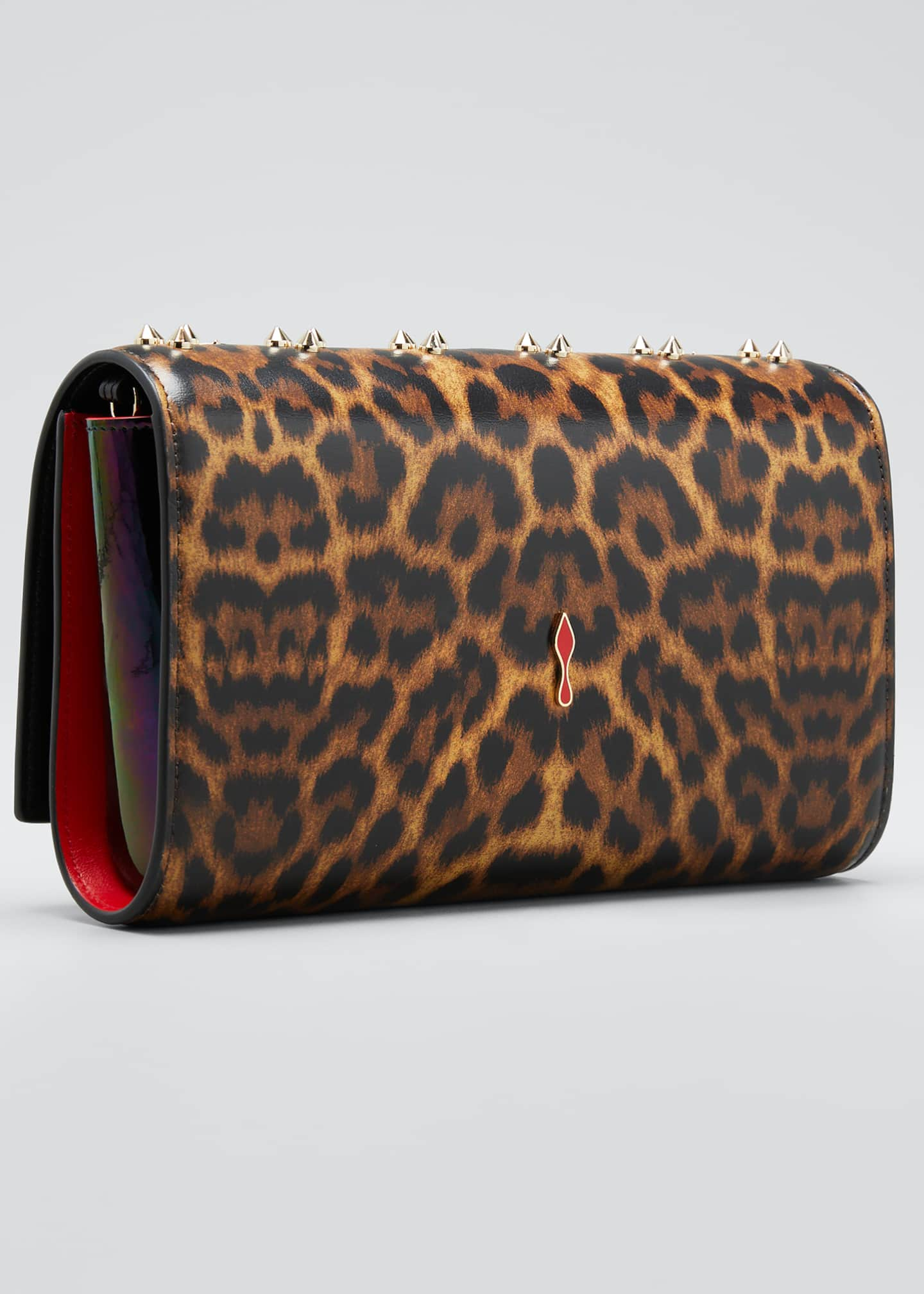 Image 3 of 5: Paloma Leopard Patent Clutch Bag