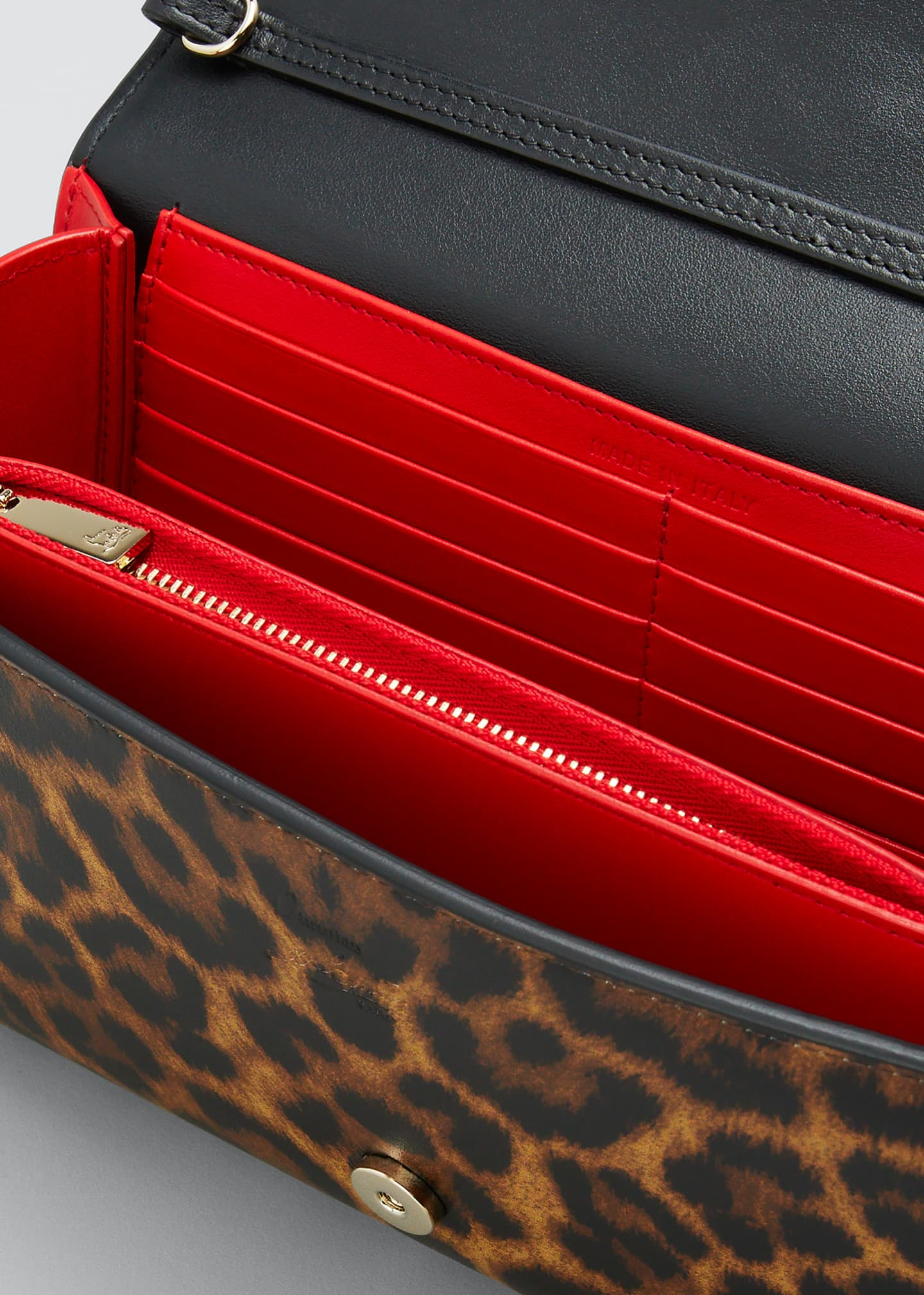 Image 4 of 5: Paloma Leopard Patent Clutch Bag