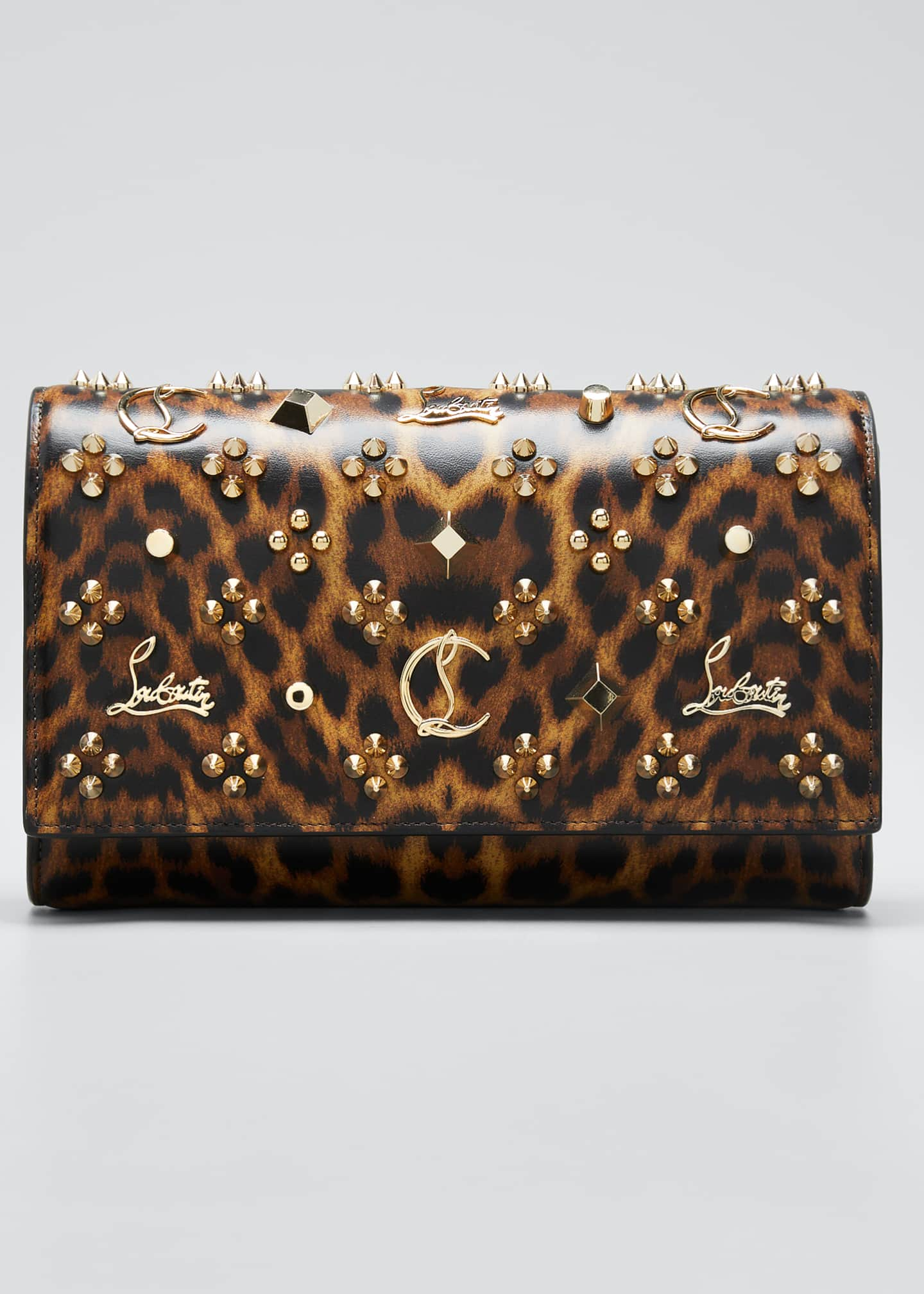 Christian Louboutin Paloma Leopard Patent Clutch Bag