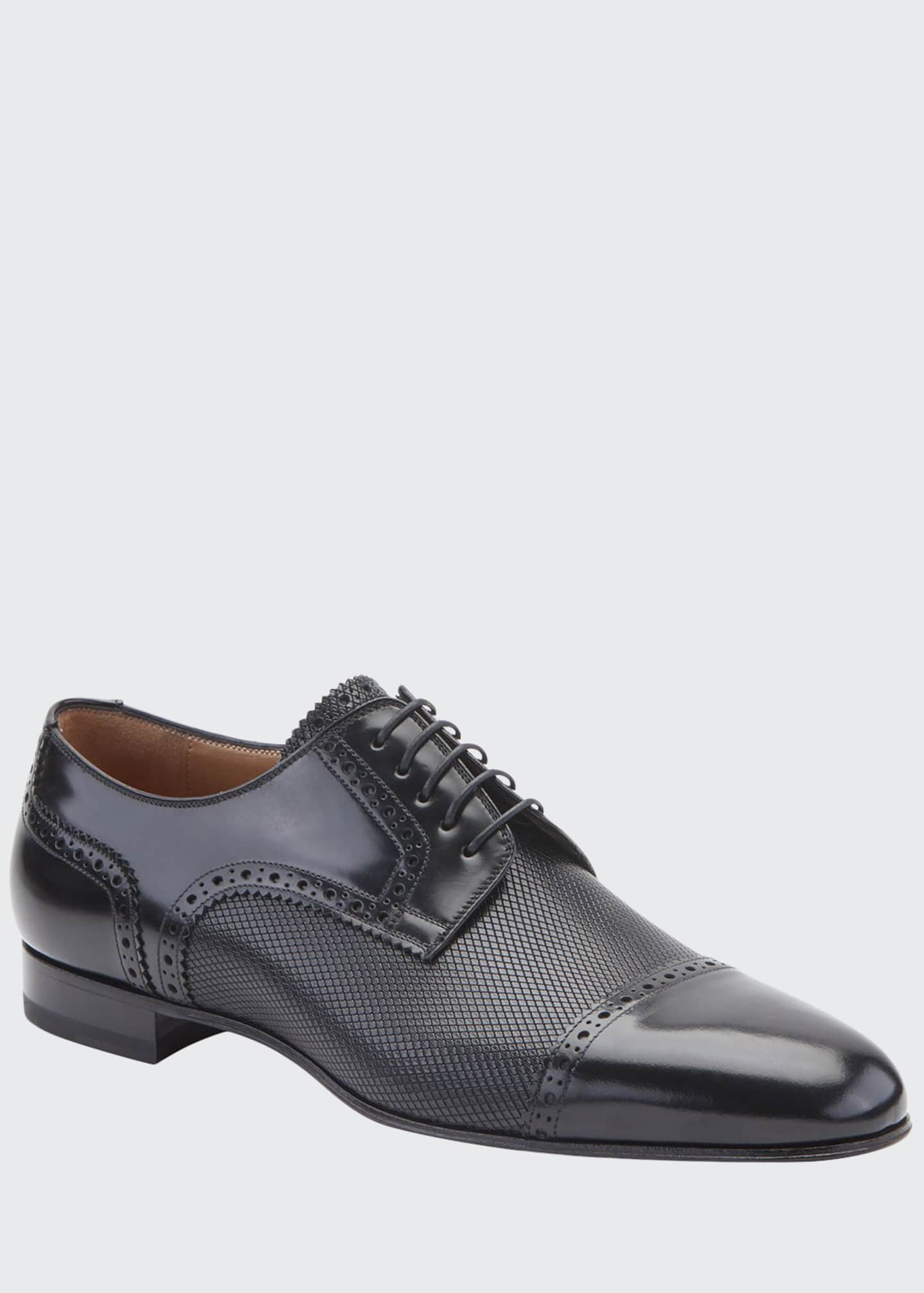 Christian Louboutin Men's Eygeny Brogue Paneled Leather Derby