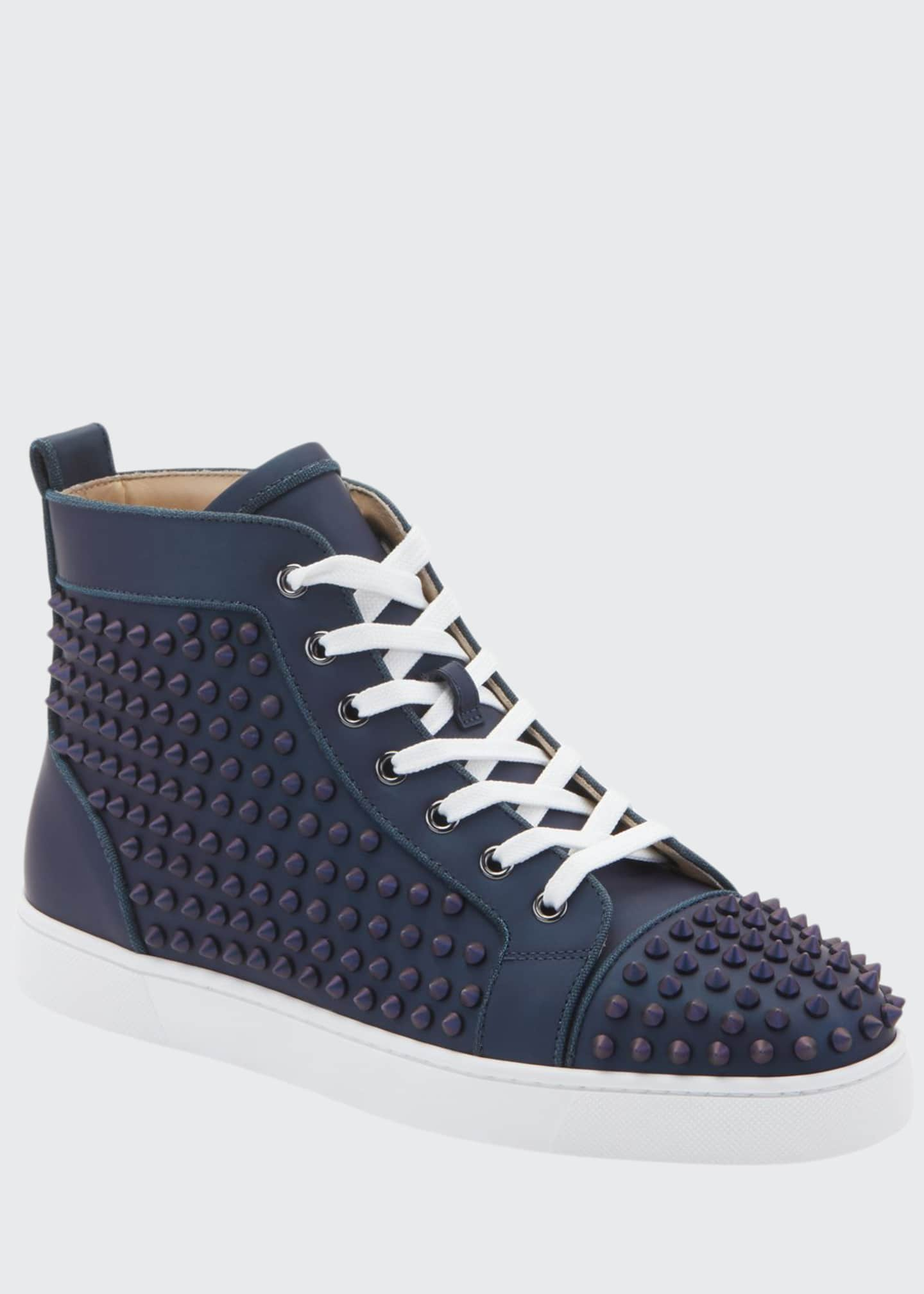 Christian Louboutin Men's Louis Orlato Spiked Leather Sneakers