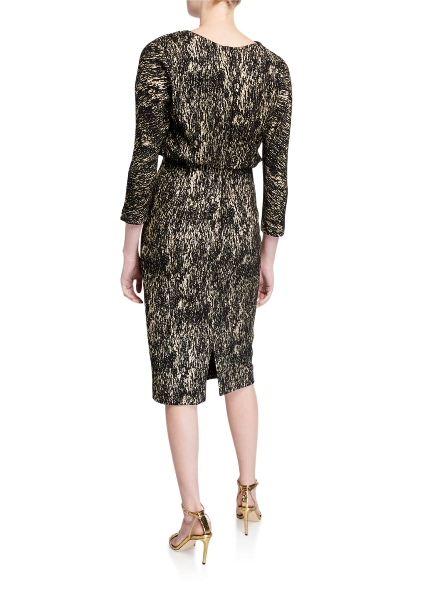 Image 2 of 2: Foiled High-Neck 3/4-Sleeve Blouson Dress