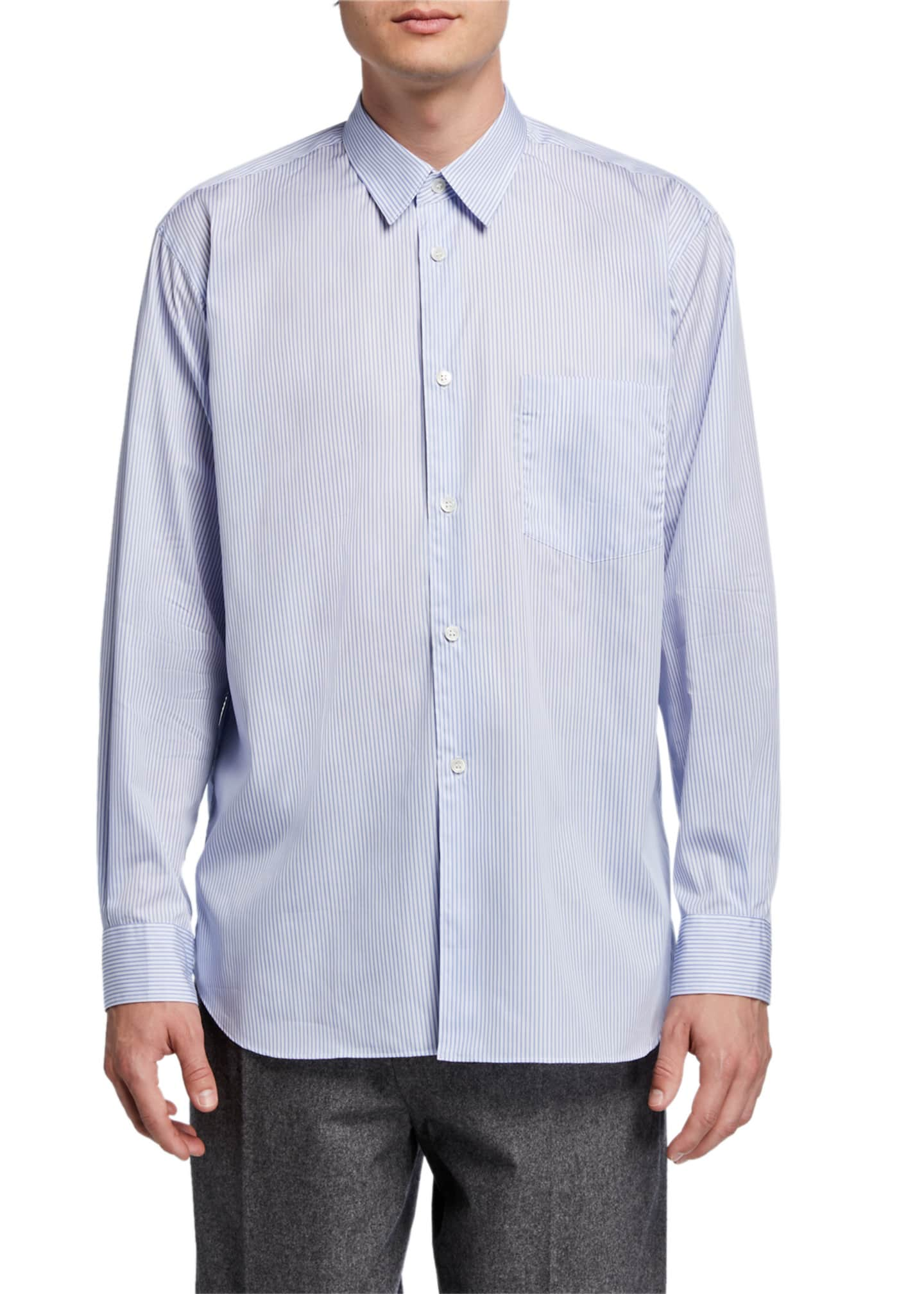 Image 1 of 5: Men's Yarn-Dyed Stripe Poplin Sport Shirt