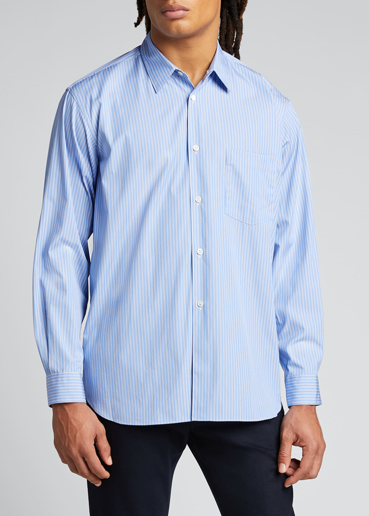 Image 3 of 5: Men's Yarn-Dyed Stripe Poplin Sport Shirt
