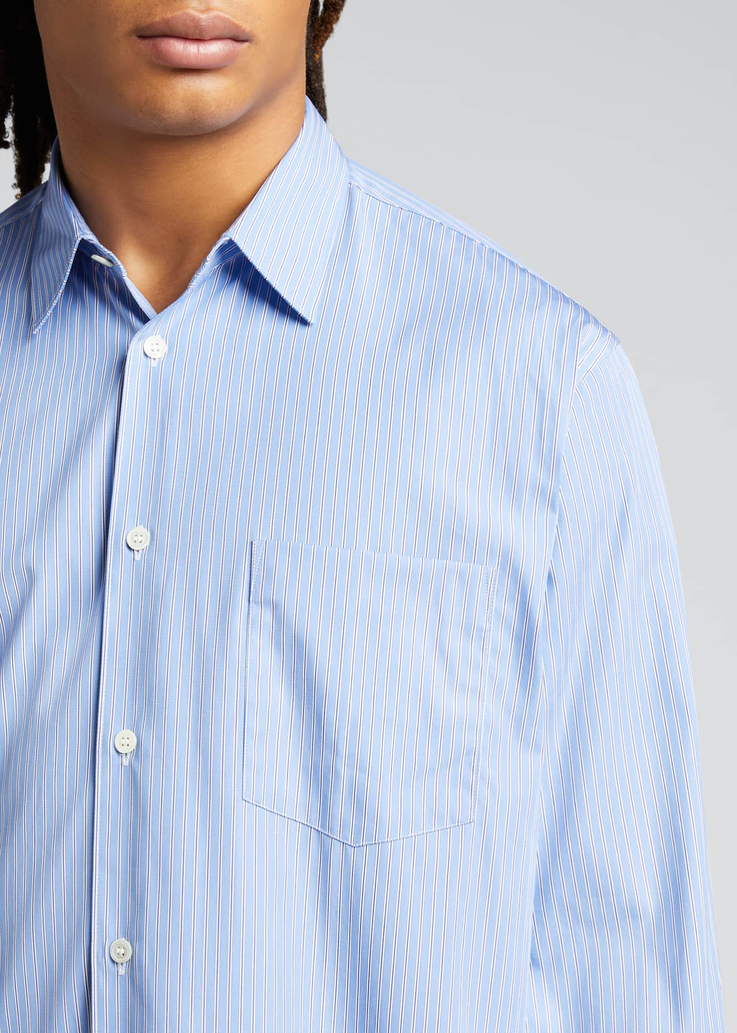 Image 4 of 5: Men's Yarn-Dyed Stripe Poplin Sport Shirt