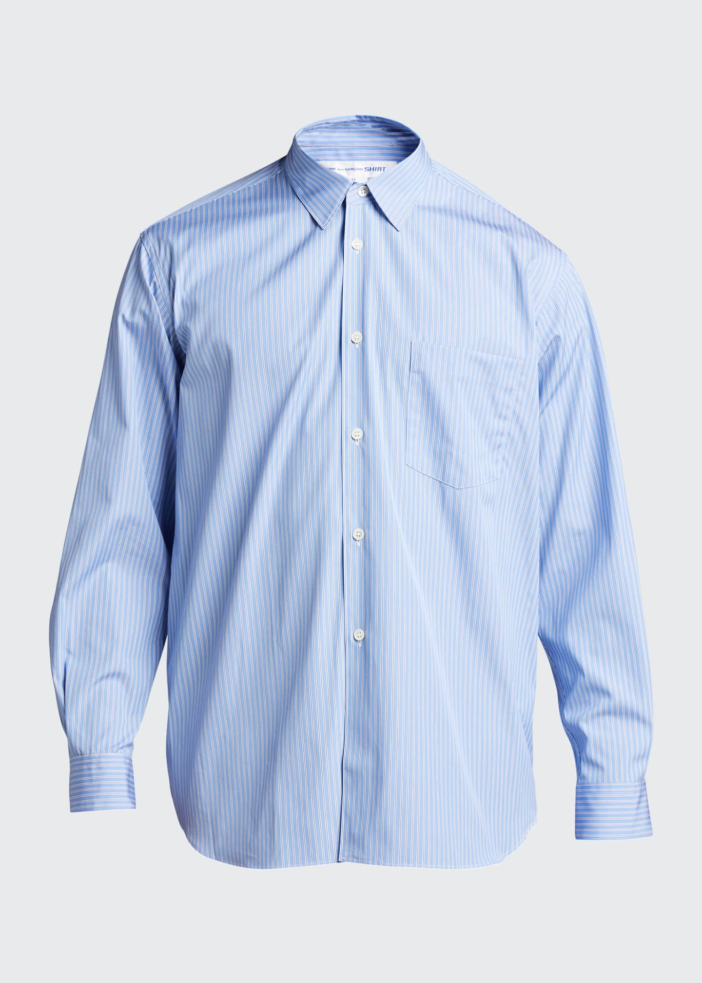 Image 5 of 5: Men's Yarn-Dyed Stripe Poplin Sport Shirt