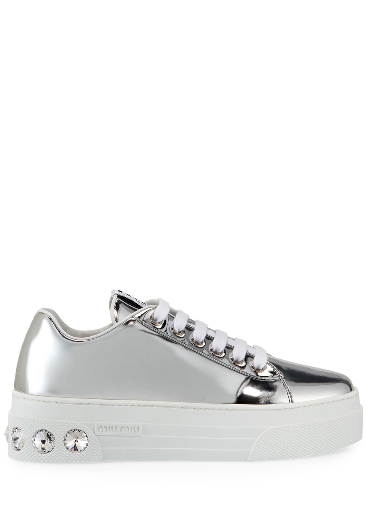Image 2 of 3: Metallic Patent Platform Sneakers