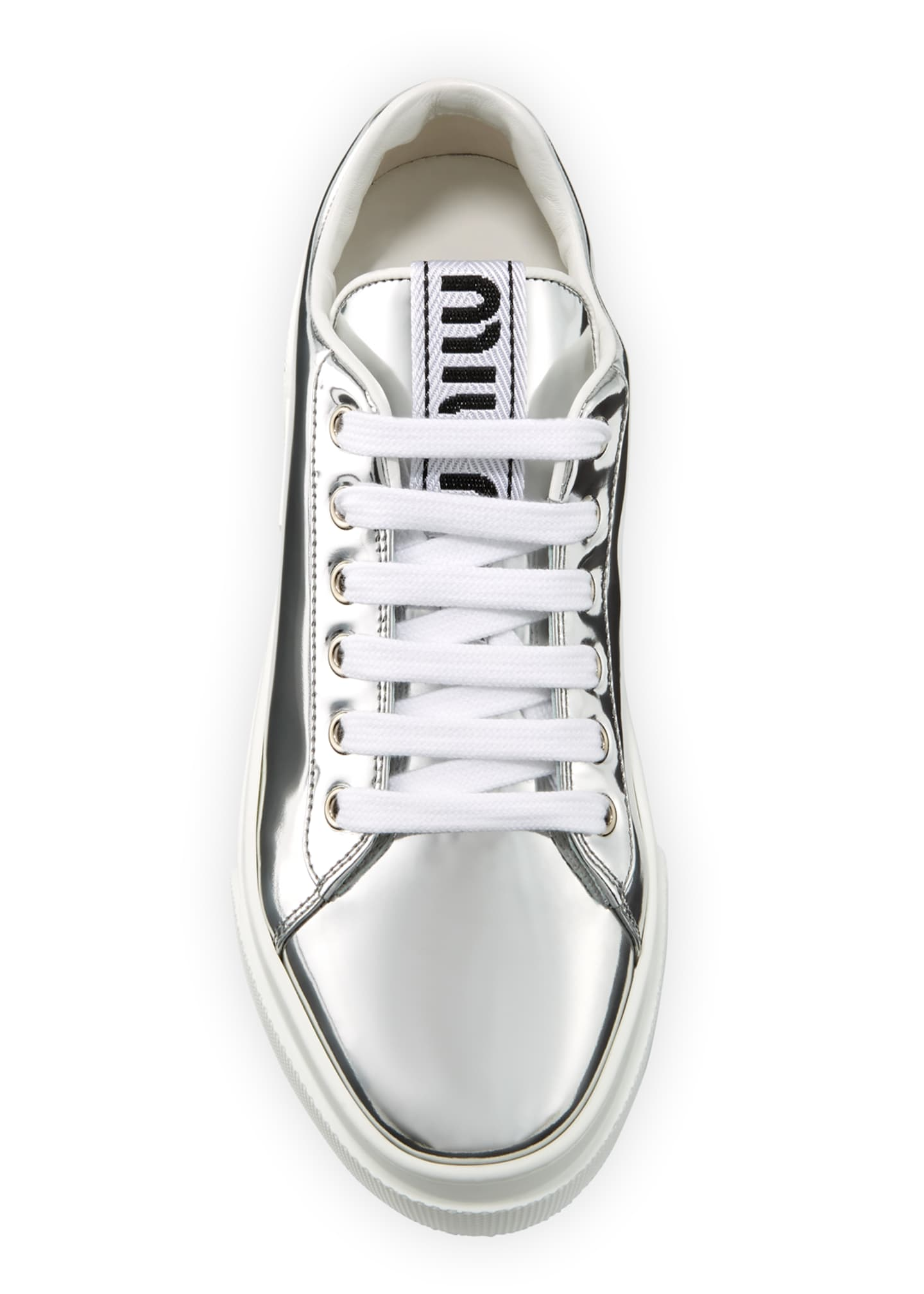 Image 3 of 3: Metallic Patent Platform Sneakers