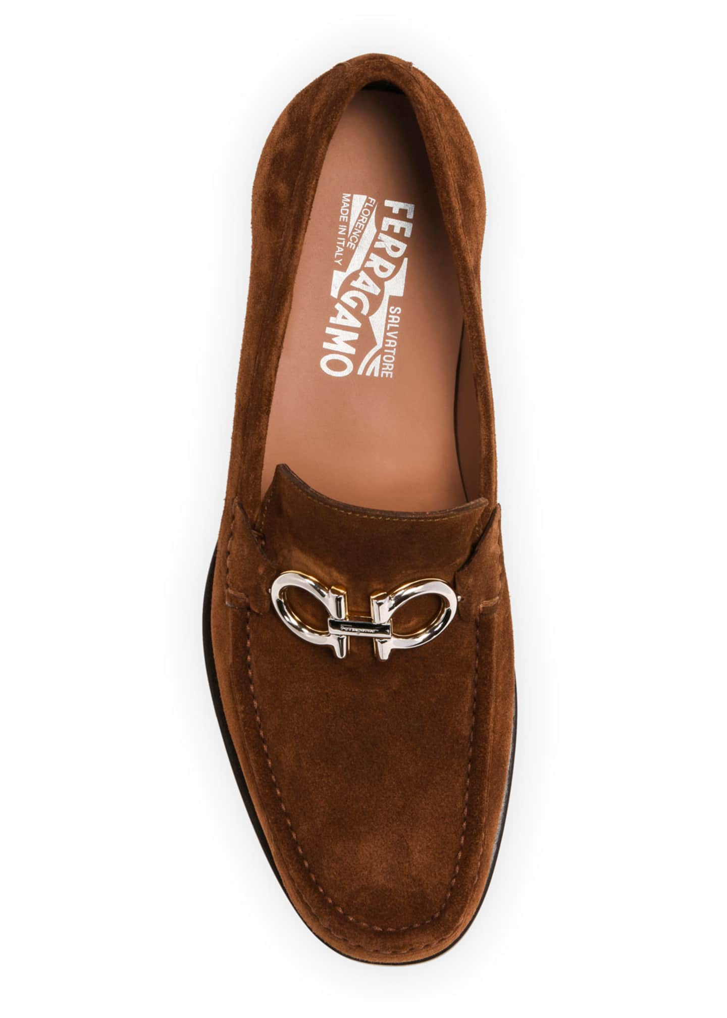 Image 2 of 4: Men's Rolo Suede Gancini-Bit Loafers