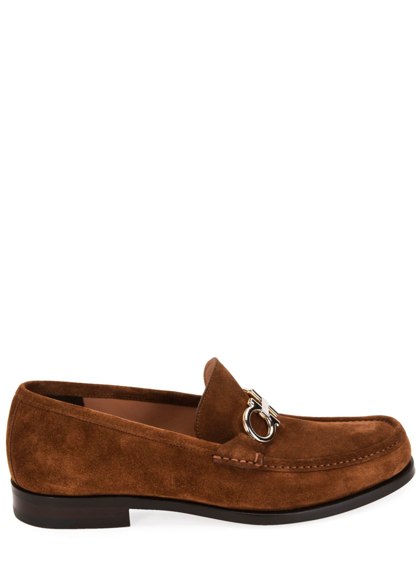 Image 3 of 4: Men's Rolo Suede Gancini-Bit Loafers