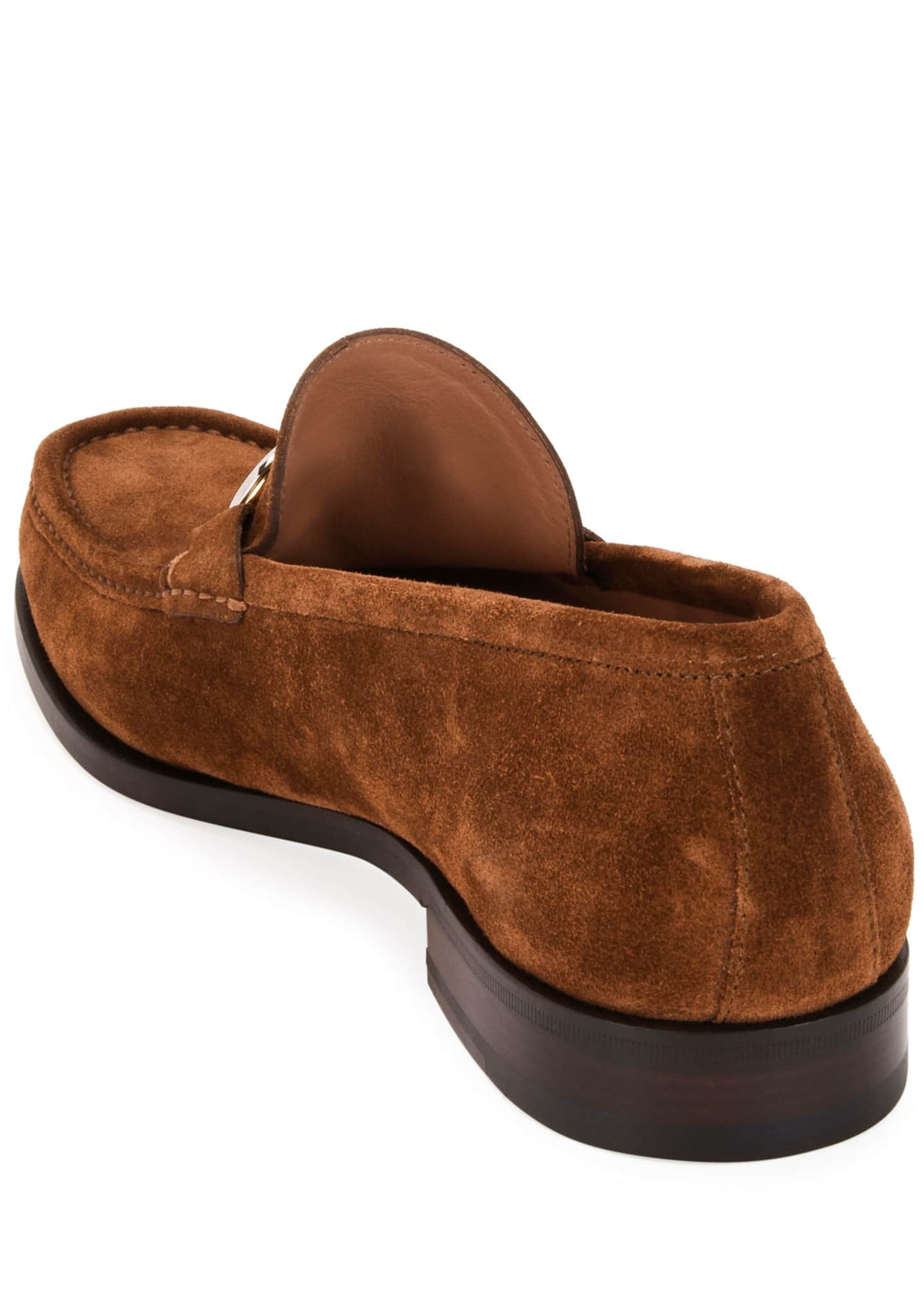 Image 4 of 4: Men's Rolo Suede Gancini-Bit Loafers